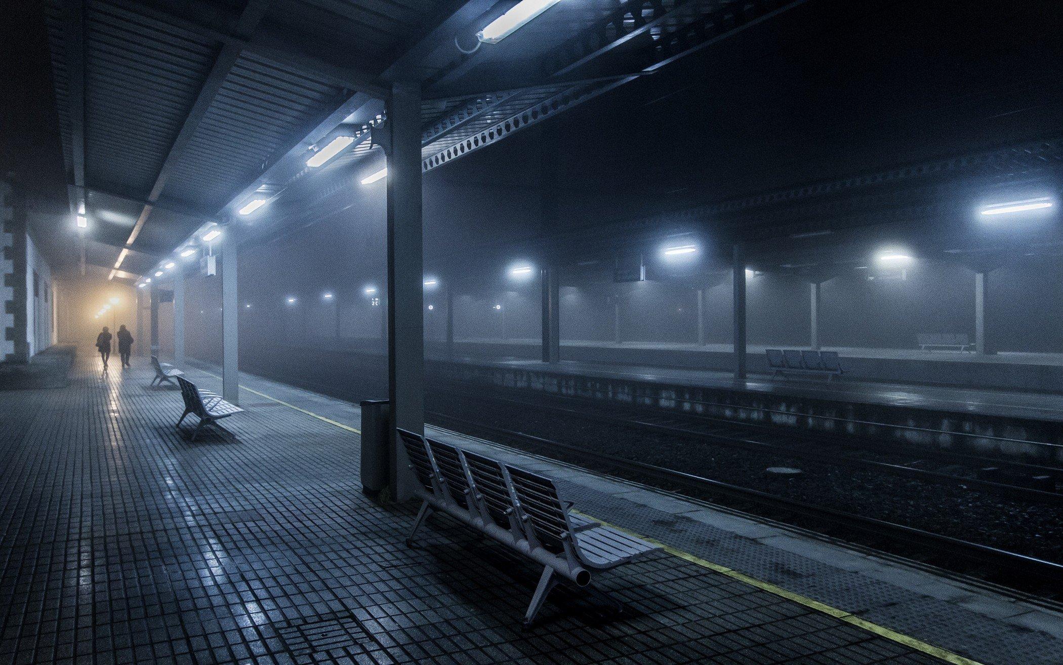 Wallpaper 2100x1313 Px Bench Blue Lights Mist Night