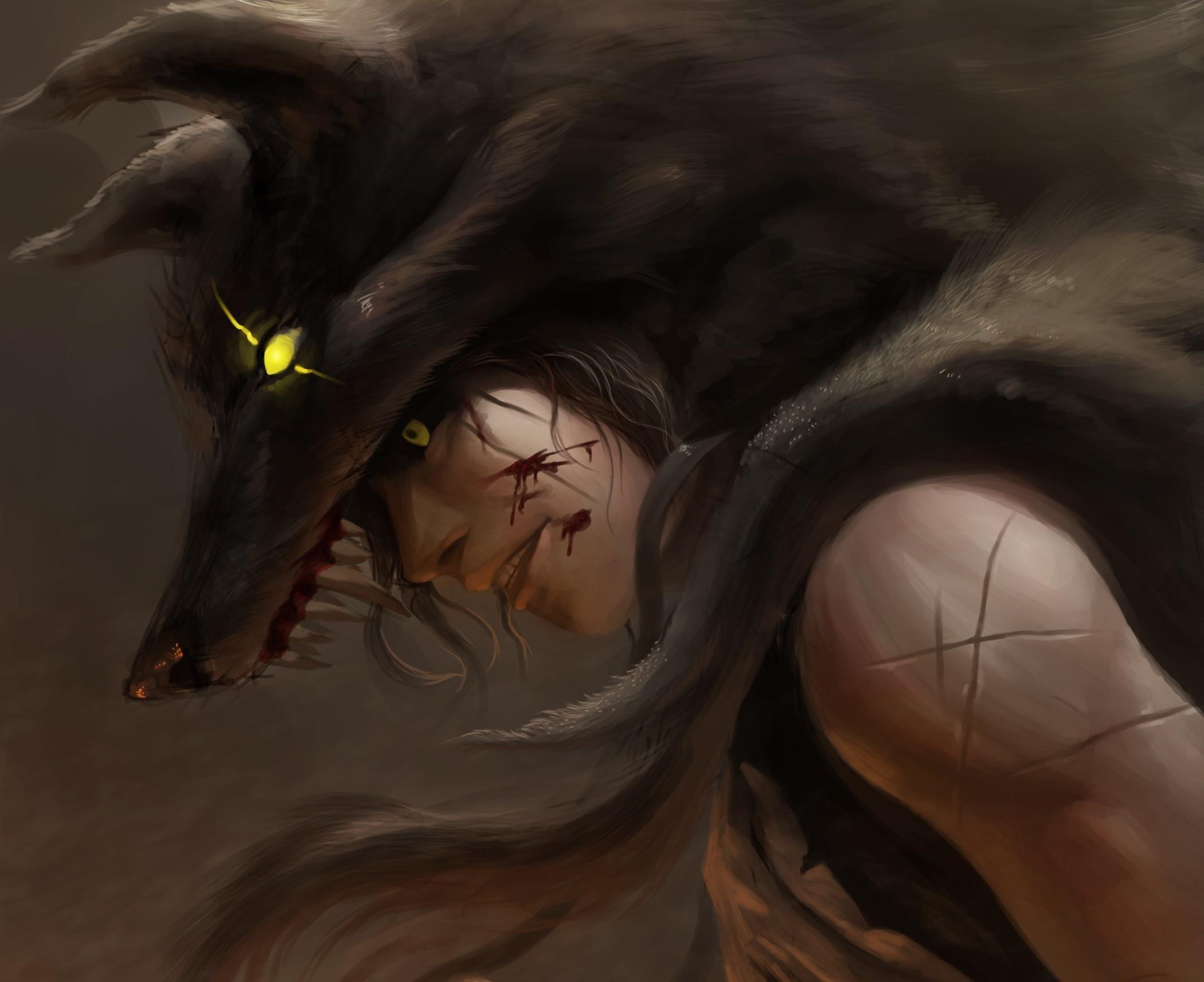 2100x1712 Px Blood Magic Men Warrior Wolf Wolves