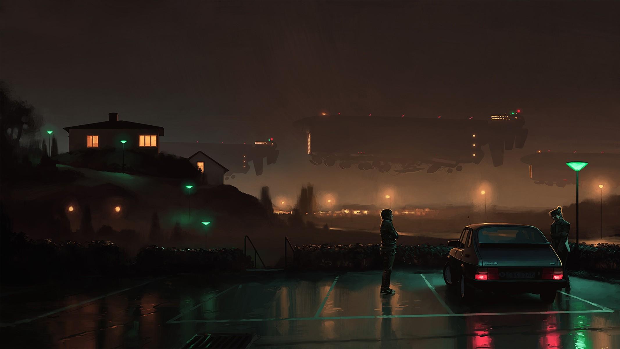 2133x1200 px artwork car cyberpunk futuristic house night saab saab 900 science fiction simon stalenhag spaceship