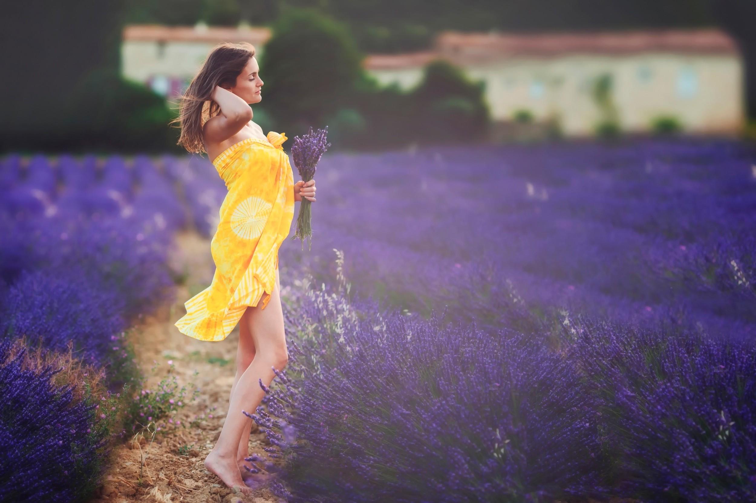 Wallpaper 2500x1666 px brunette field lavender purple flowers 2500x1666 px brunette field flowers lavender purple flowers women women outdoors yellow dress mightylinksfo