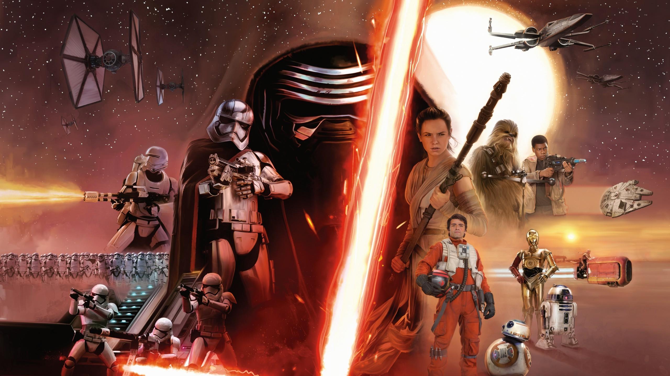 Wallpaper 2560x1440 Px Bb 8 C 3po Captain Phasma Chewbacca Han Solo Jedi Kylo Ren Lightsaber Luke Skywalker Millennium Falcon R2 D2 Sith Star Wars Star Wars Episode Vii The Force
