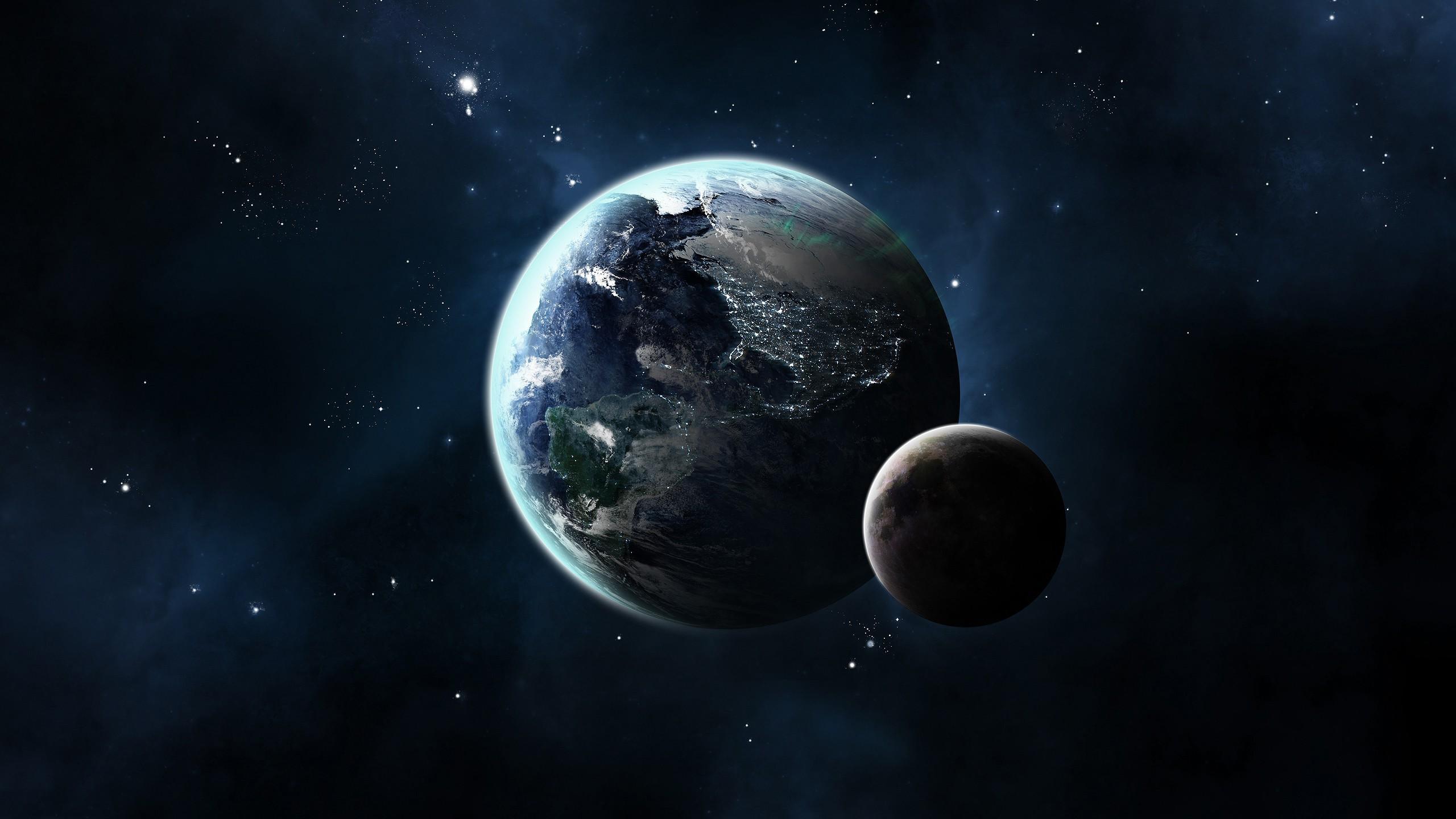 Hintergrundbilder : 2560x1440 px, CG Render, Erde, Mond ...