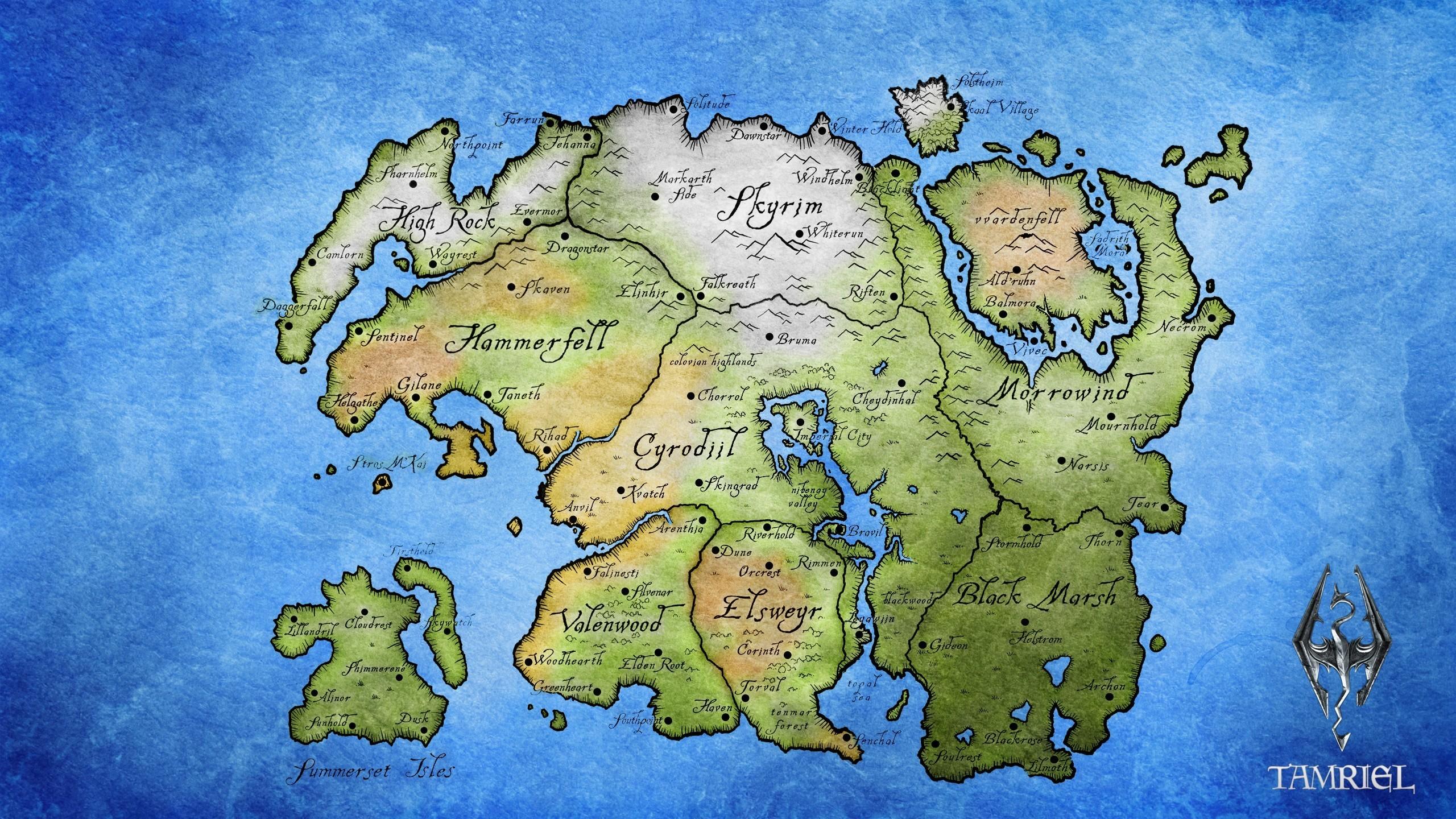 2560x1440 Px Elder Scrolls Map Tamriel The III Morrowind IV Oblivion
