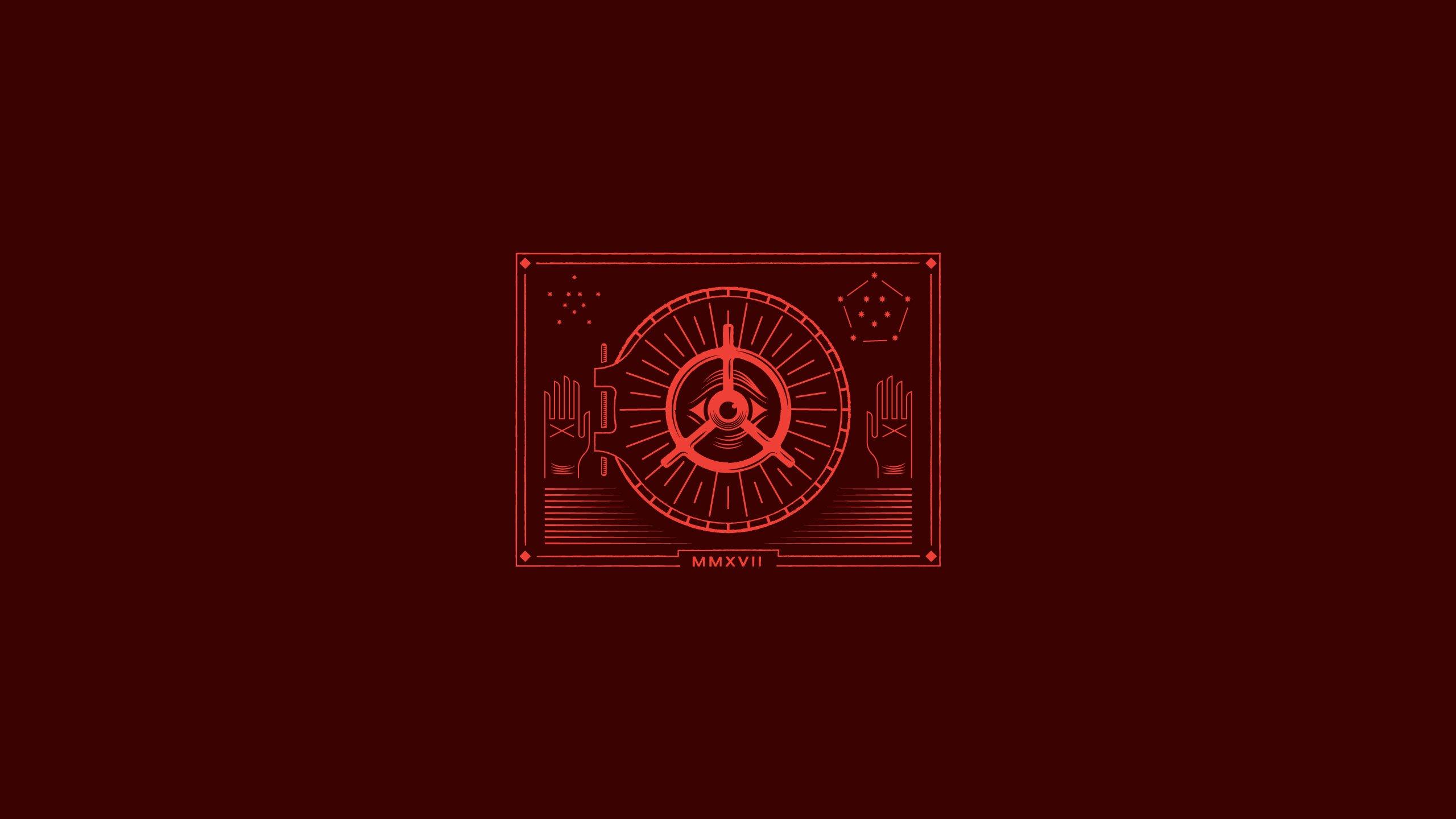 Sfondi 2560x1440 Px Illuminati Minimalismo Sfondo Rosso L