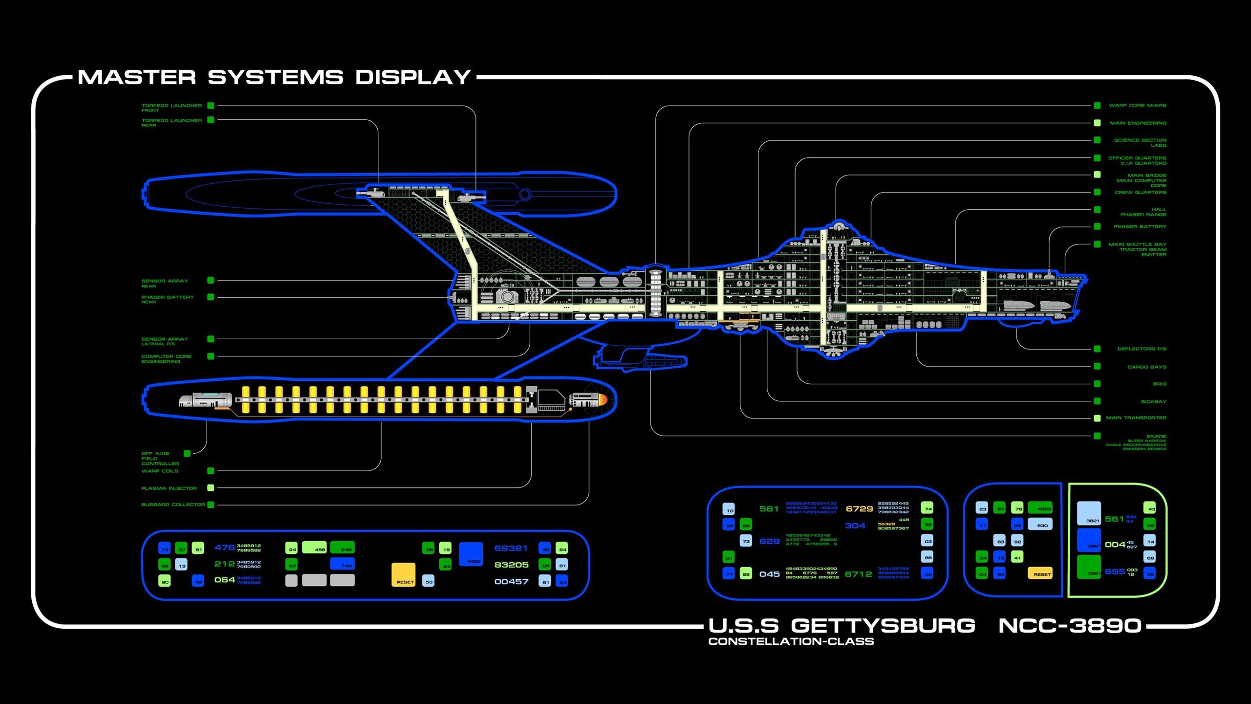 Wallpaper : 2560x1440 px, LCARS, spaceship, Star Trek