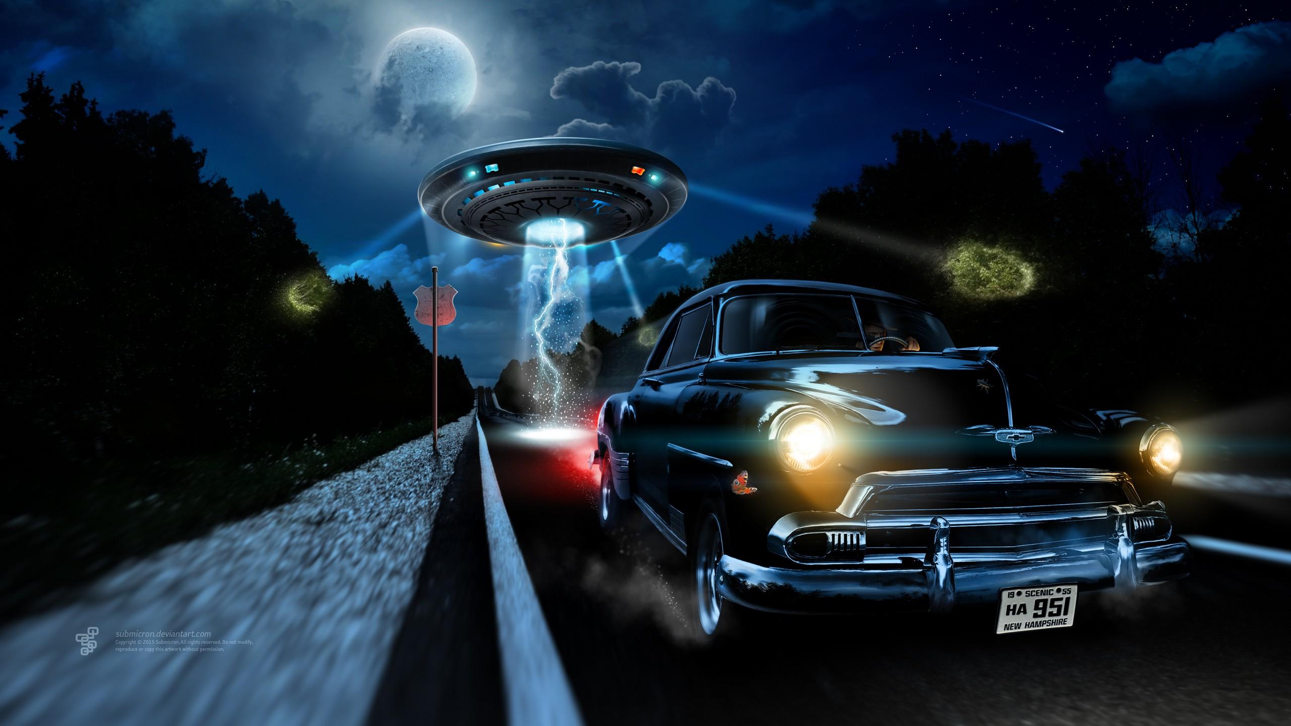Wallpaper 2560x1440 Px Aliens Car Chevrolet Clouds
