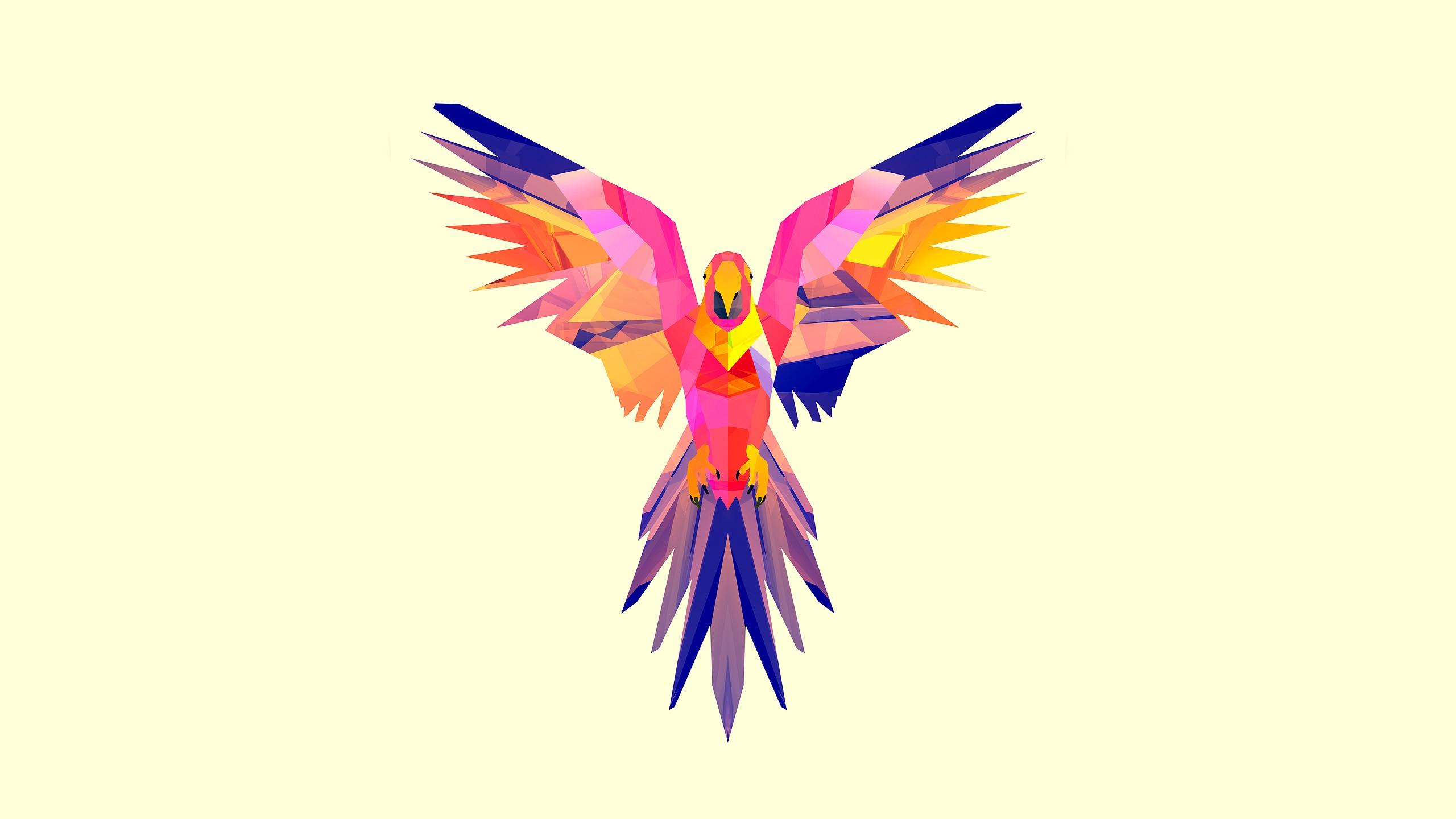 2560x1440 px animals digital art Facets Justin Maller parrot