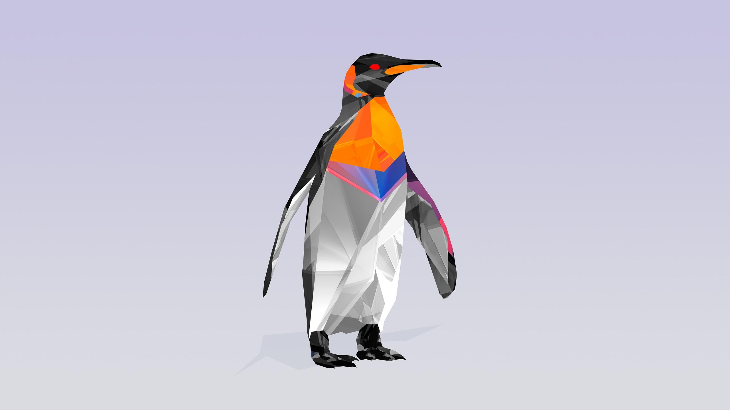 2560x1440 Px Animals Digital Art Facets Justin Maller Penguins