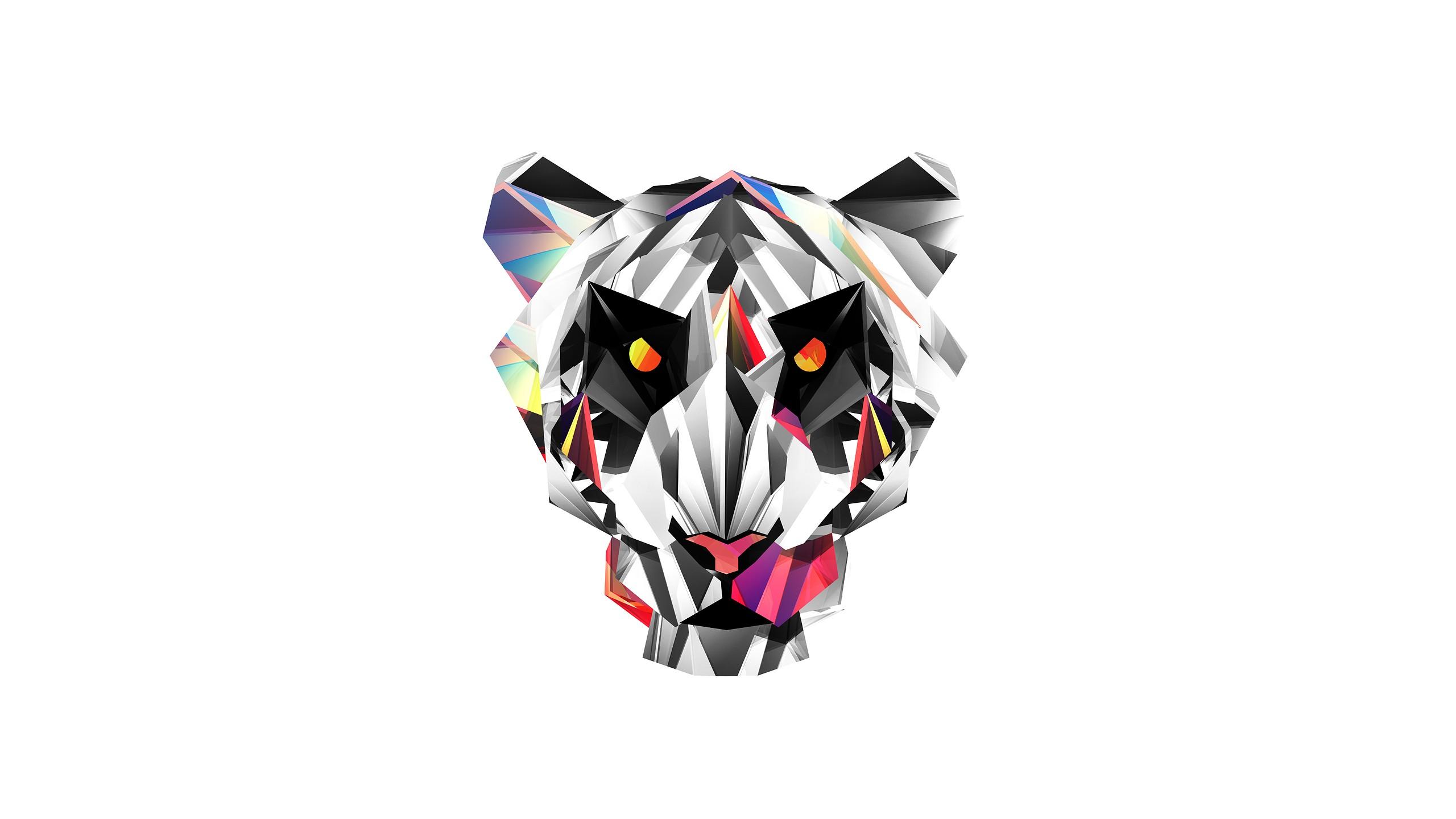 2560x1440 Px Animals Digital Art Facets Justin Maller Tiger