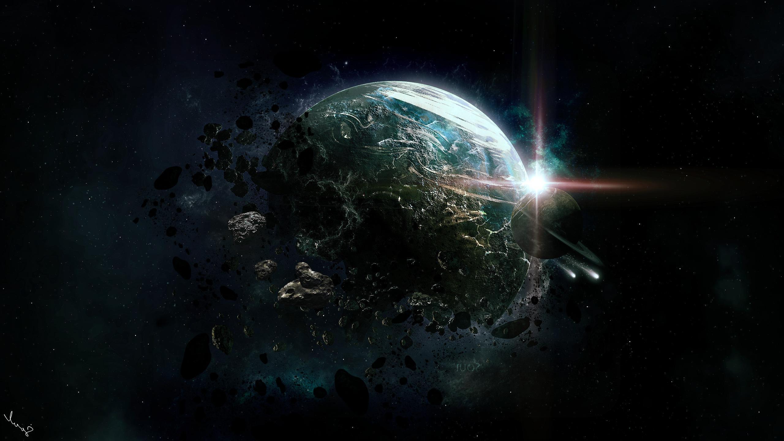 Sci Fi Wallpaper 2560x1440: Wallpaper : 2560x1440 Px, Apocalyptic, ART, Asteroids