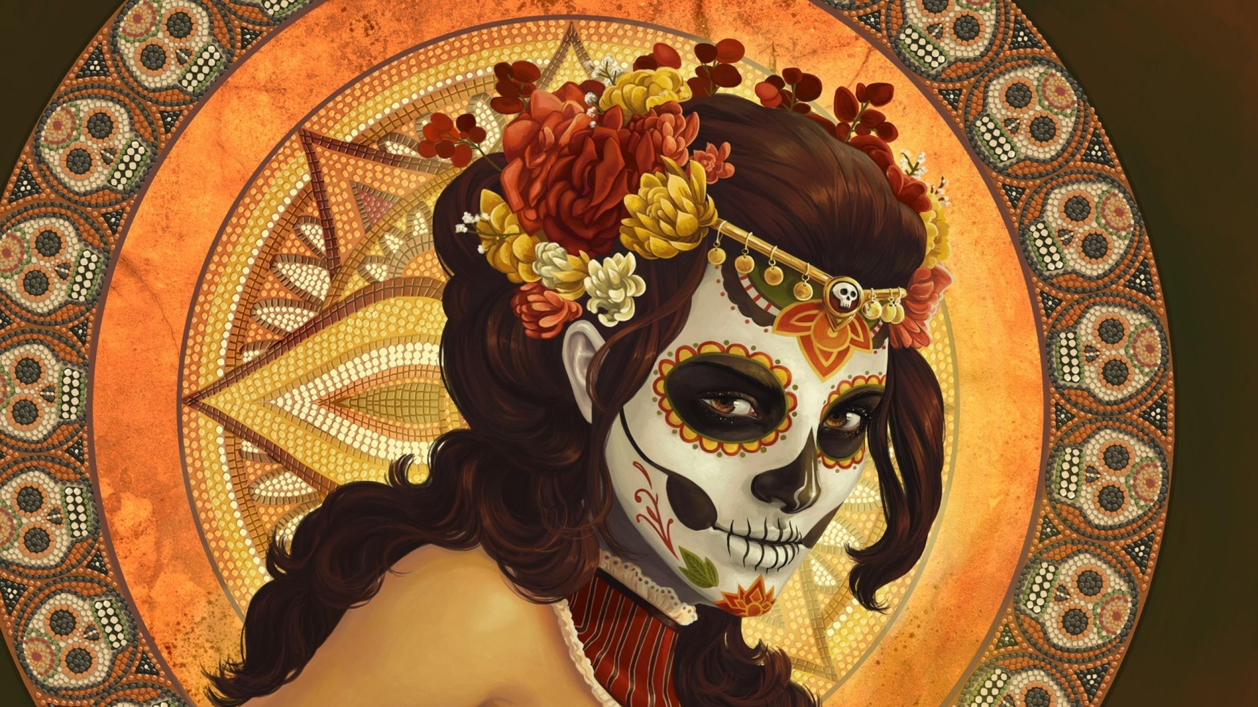 2560x1440 Px Artwork Dia De Los Muertos Digital Art Flowers Mexico Mosaic Pattern Skull Sugar