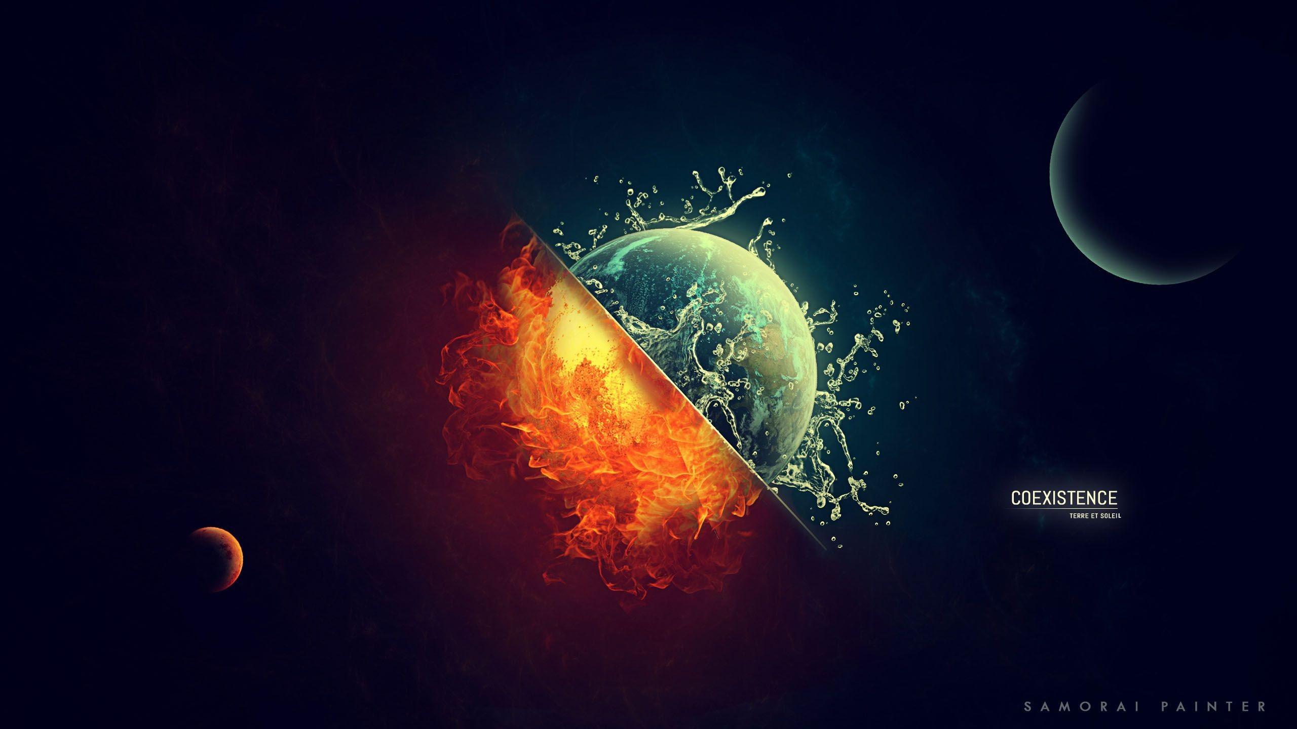 Earth Digital Art Hd Wallpaper: Wallpaper : 2560x1440 Px, Burning, Coexist, Digital Art