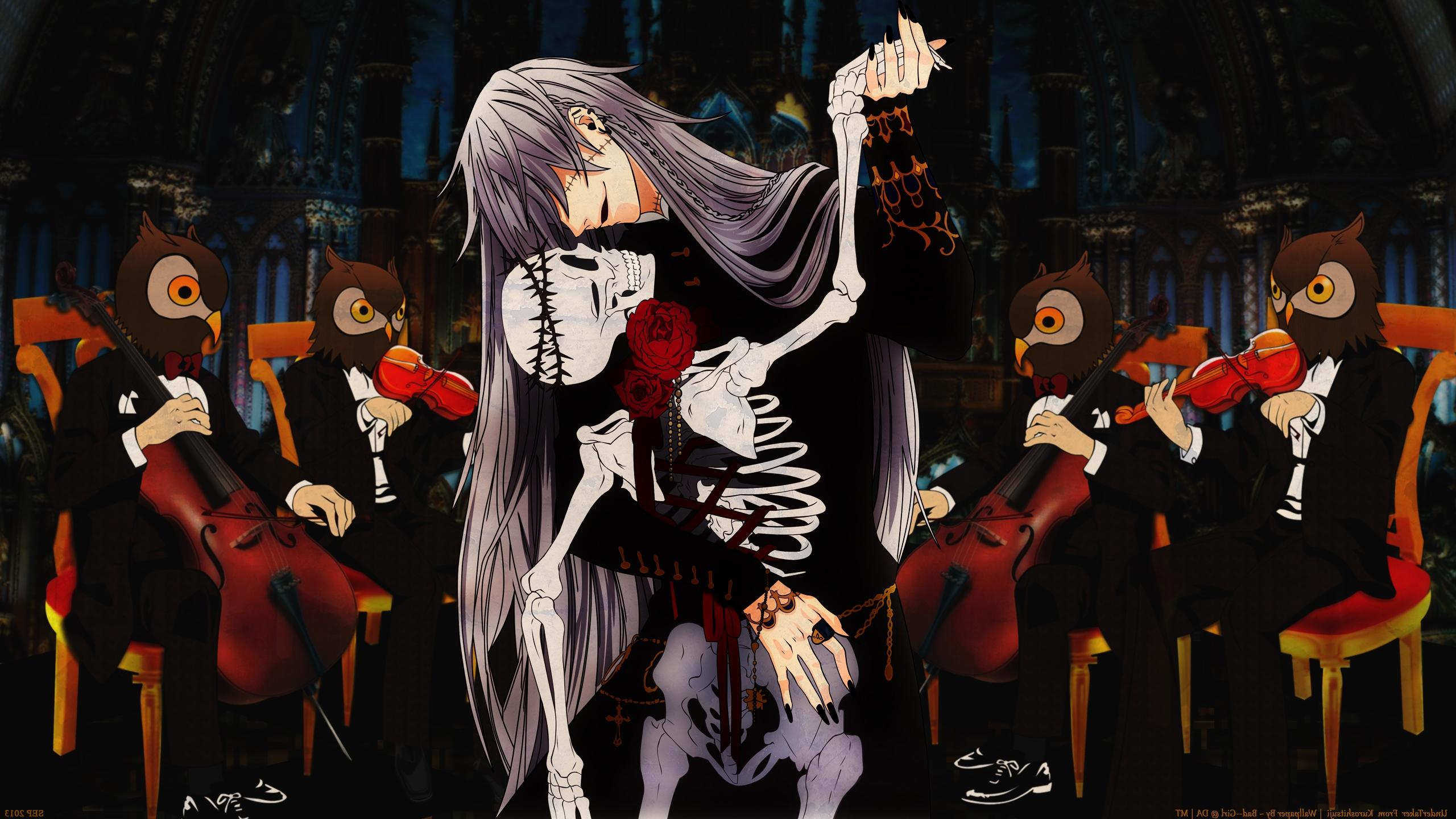 2560x1440 Px Cello Flowers Kuroshitsuji Music Rose Skull Undertaker Violin