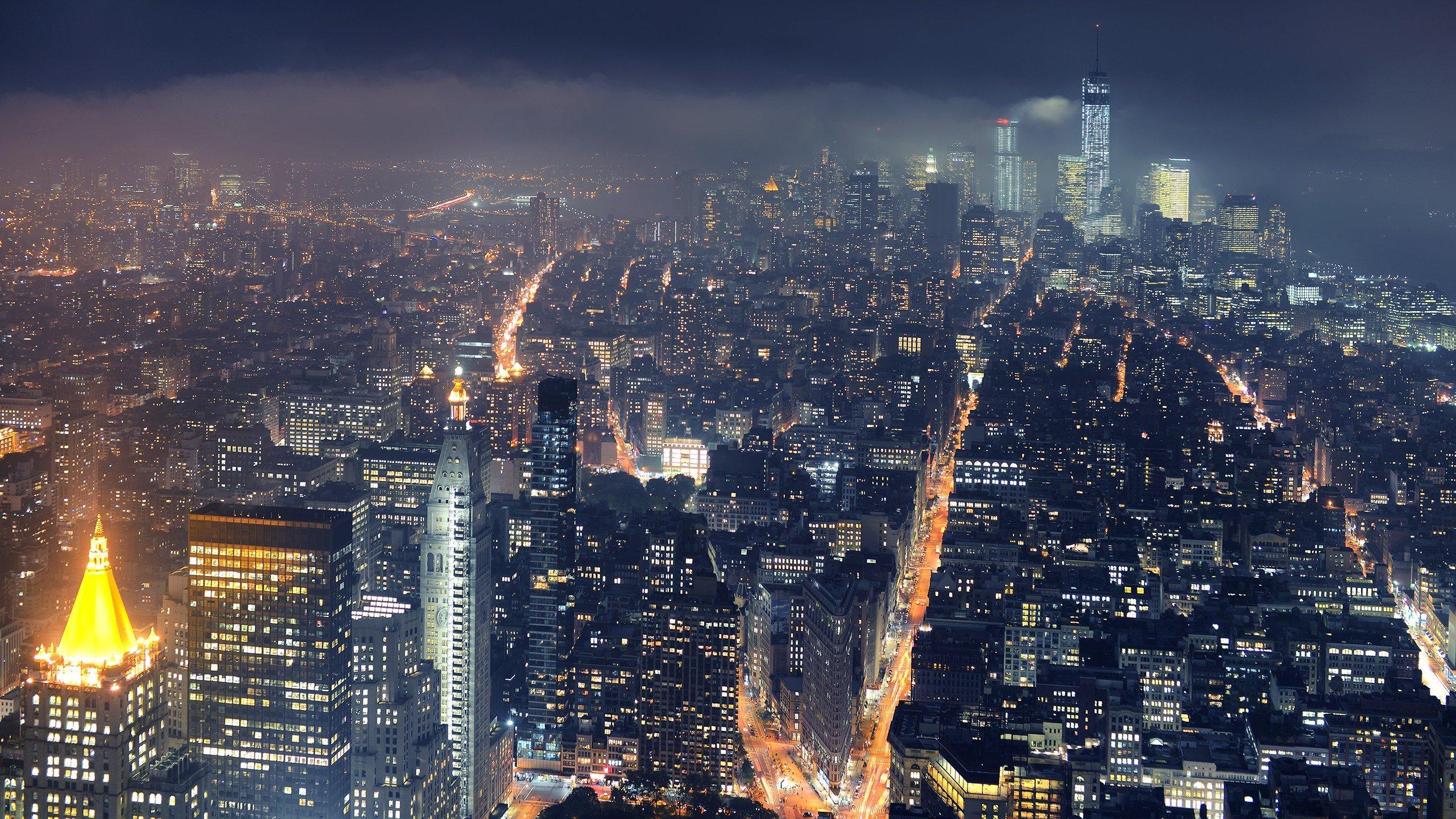 Wallpaper 2560x1440 Px City Cityscape Lights Mist