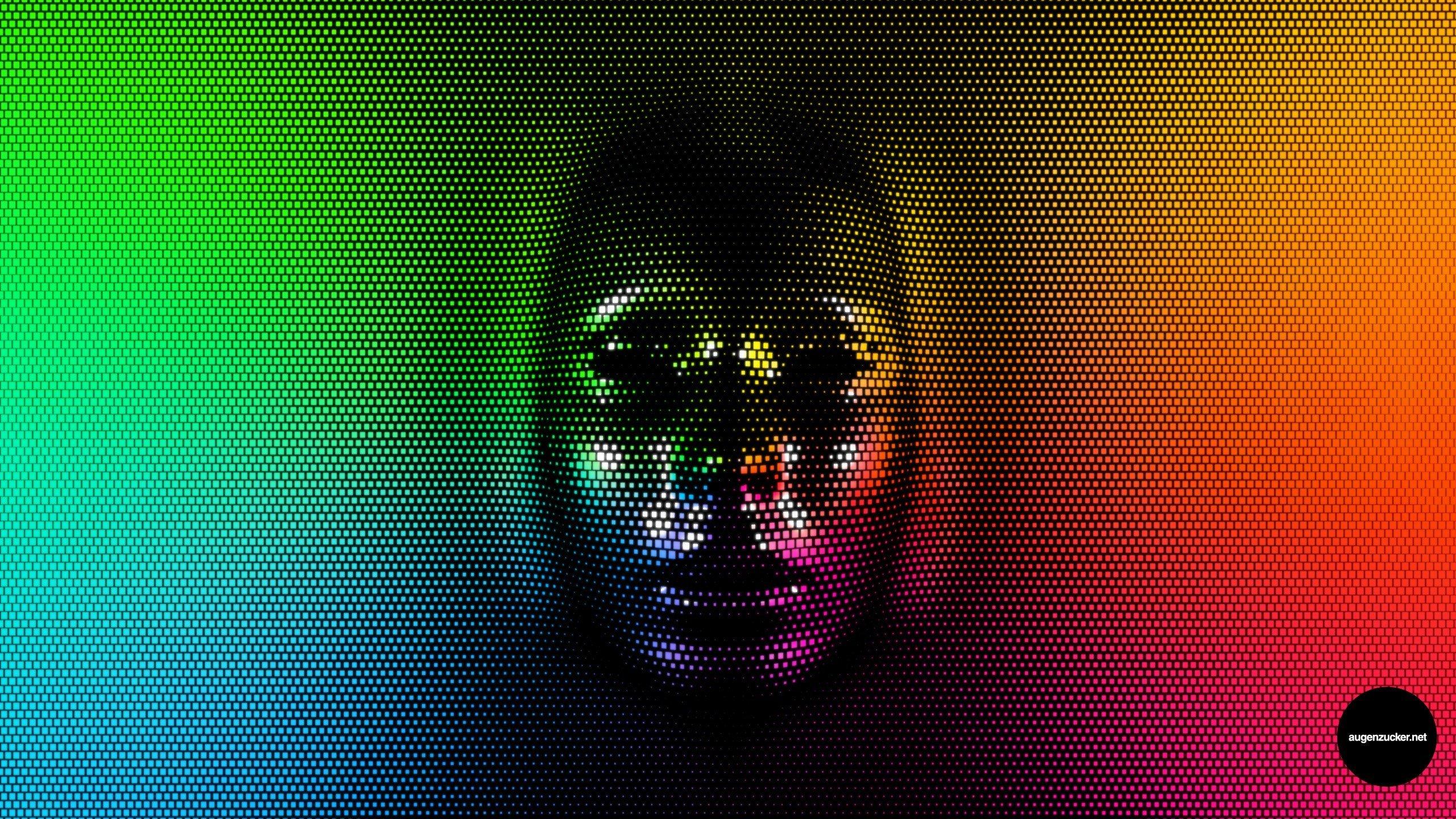 Wallpaper 2560x1440 Px Face Pixels Rainbow Colors
