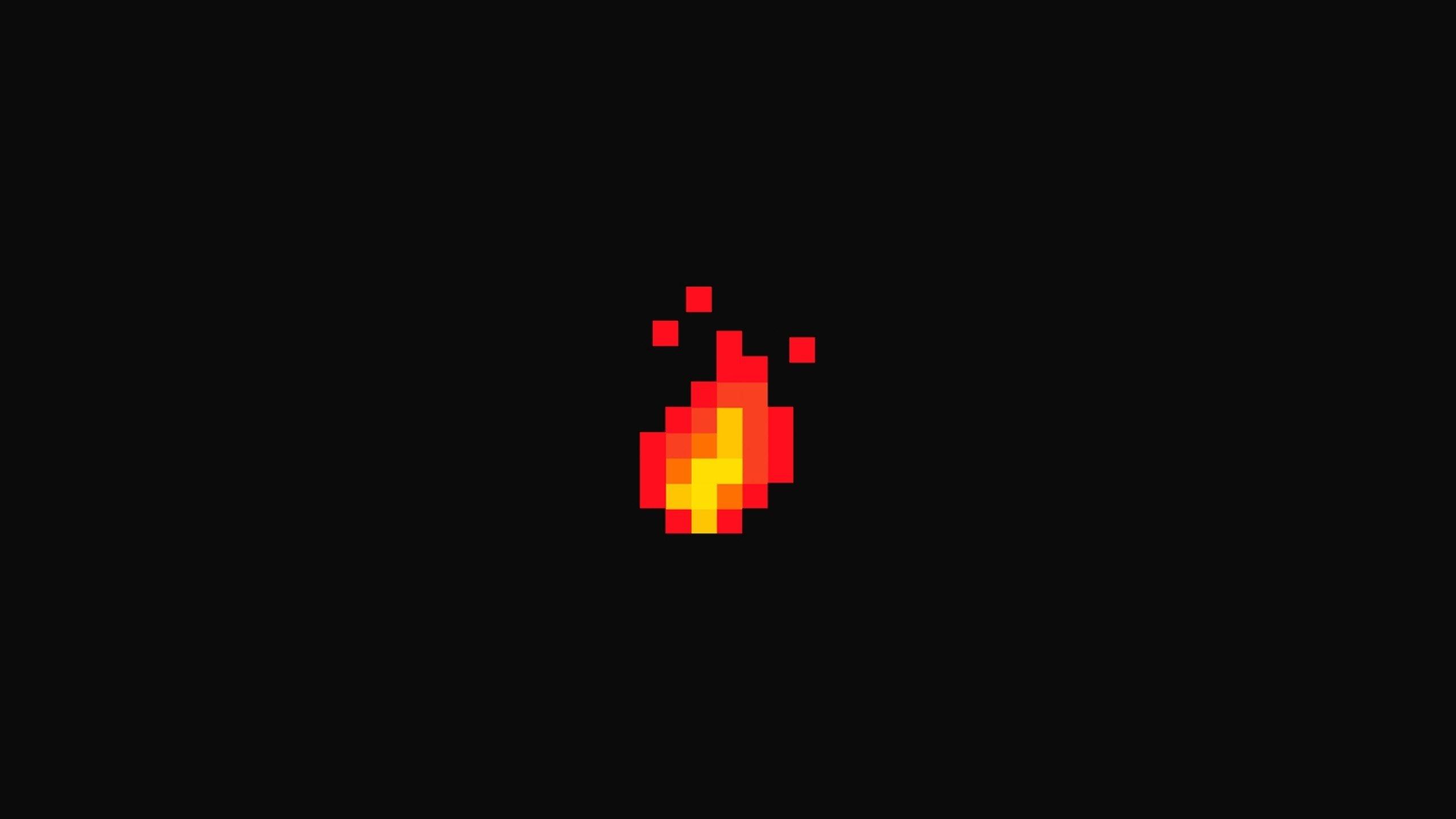 Wallpaper 2560x1440 Px Fire Flares Minimalism Pixel