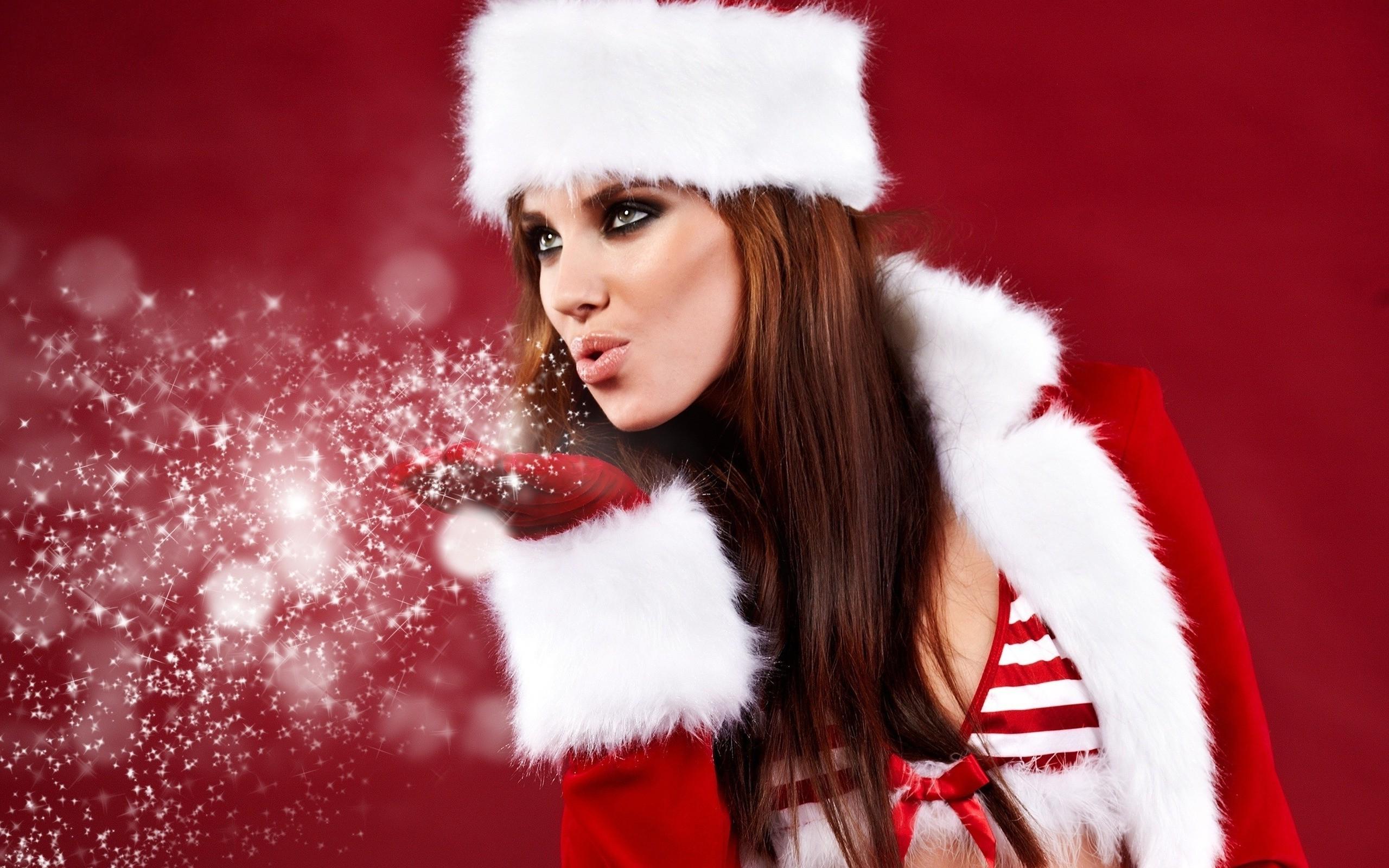 Christmas Model.Wallpaper 2560x1600 Px Christmas Model Women 2560x1600
