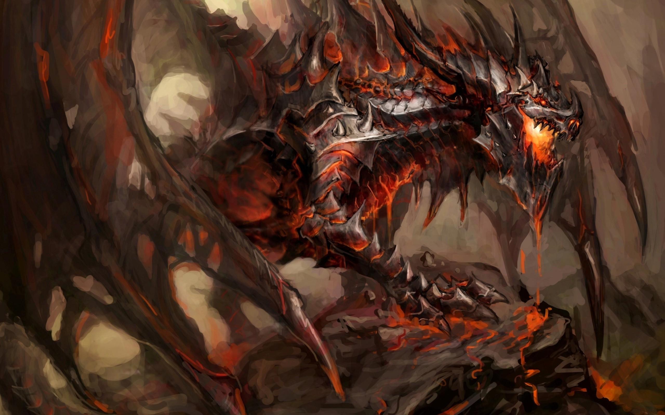 Wallpaper 2560x1600 Px Deathwing Dragon Fantasy Art World Of