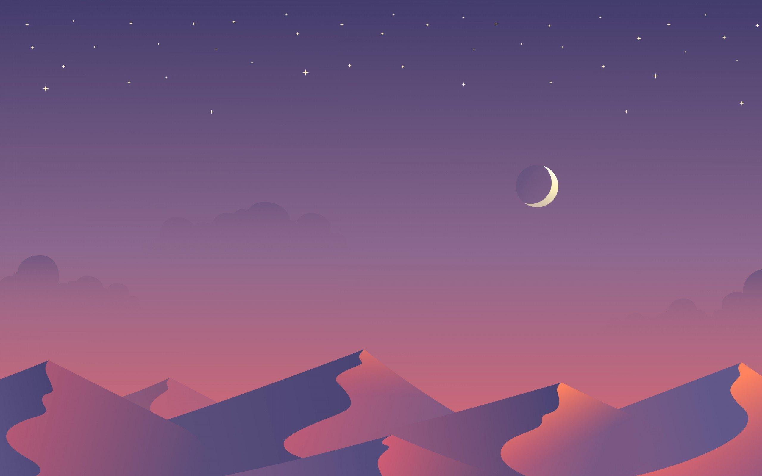 Wallpaper 2560x1600 Px Artwork Desert Dunes Minimalism Moon