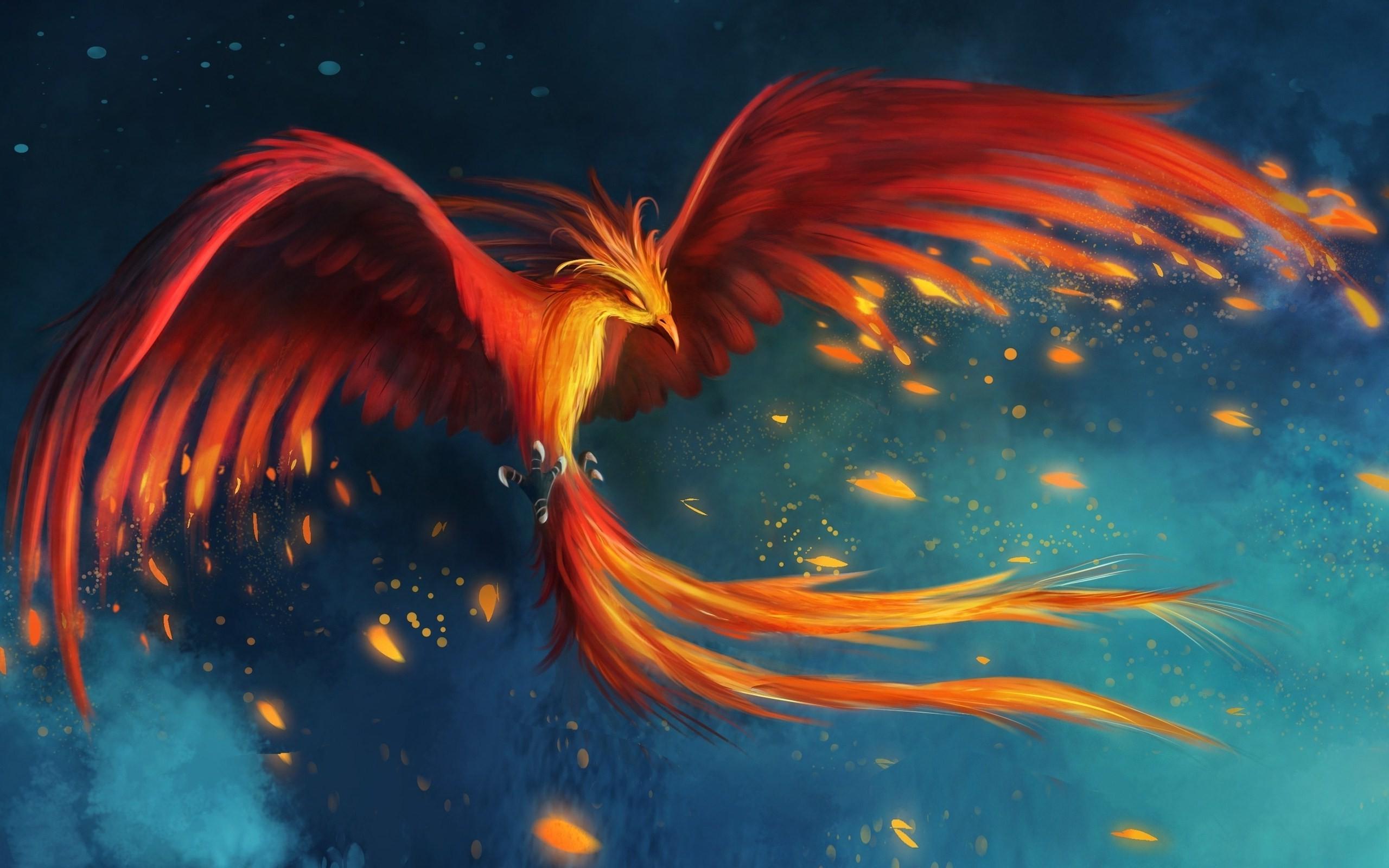Wallpaper 2560x1600 Px Birds Burning Digital Art