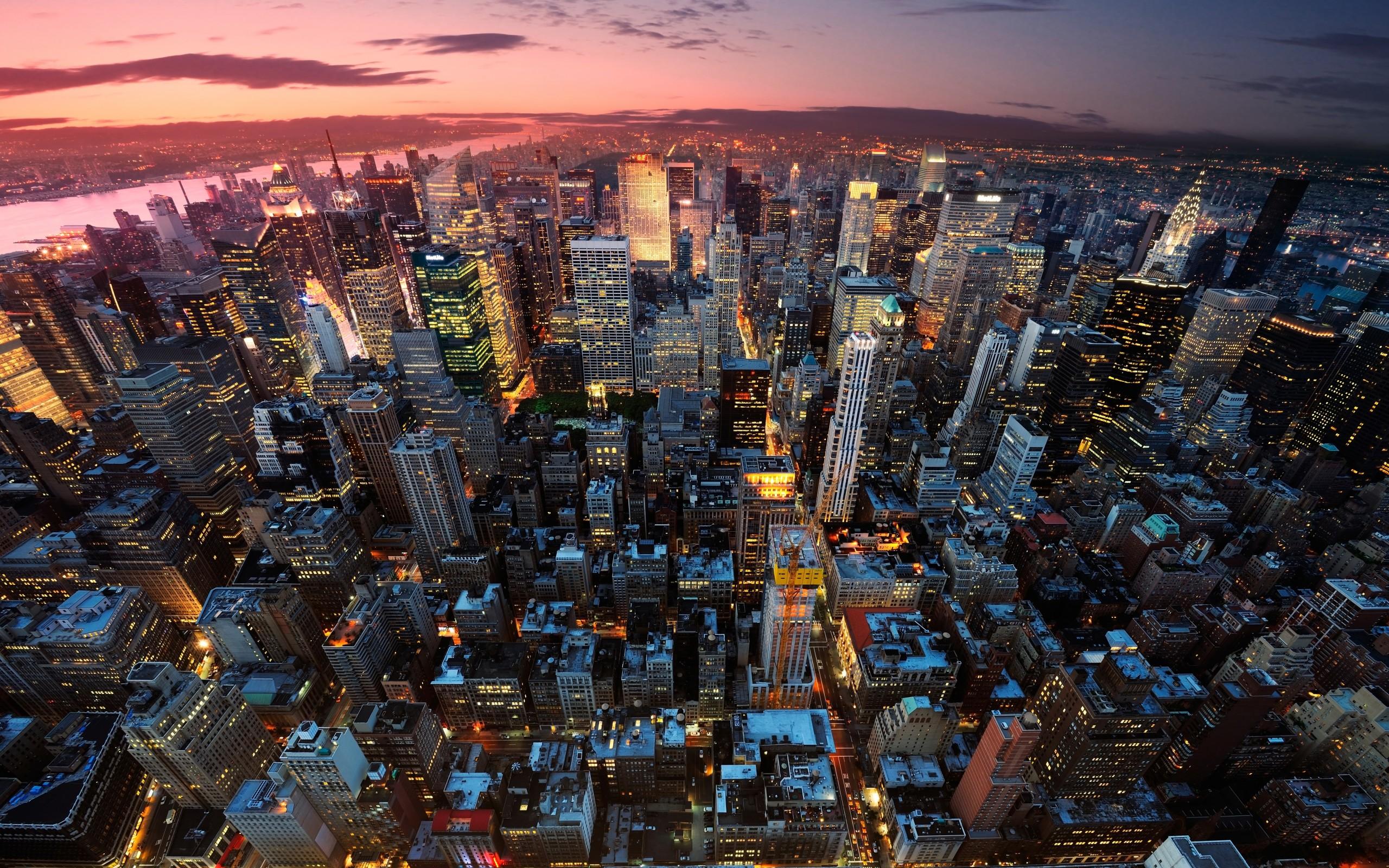 Обои manhattan, new york, здания, ночь, небоскребы. Города foto 14