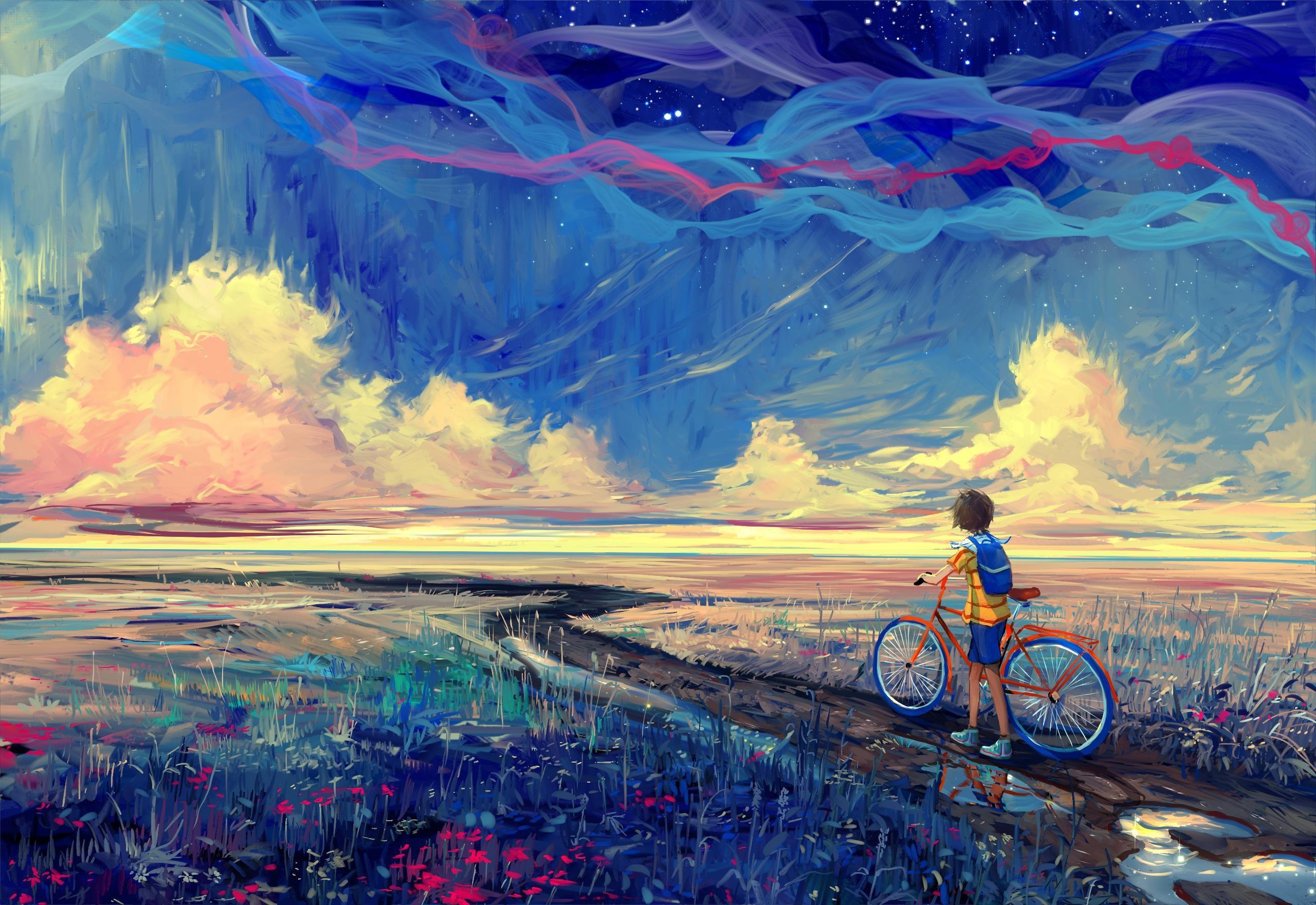 Wallpaper 2560x1760 px artwork bicycle fantasy art - Art wallpaper hd for mobile ...