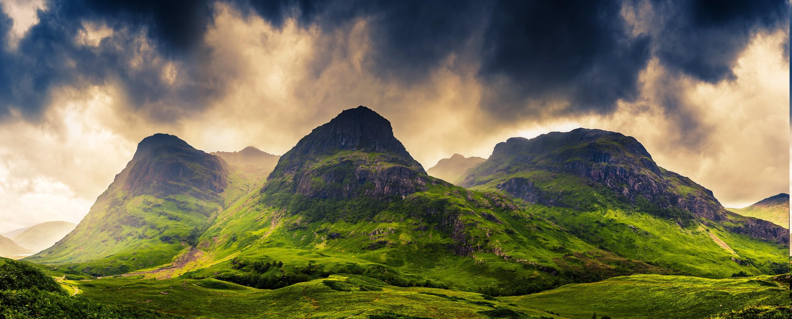 Wallpaper 2600x1047 Px Clouds Grass Landscape Mountain Nature