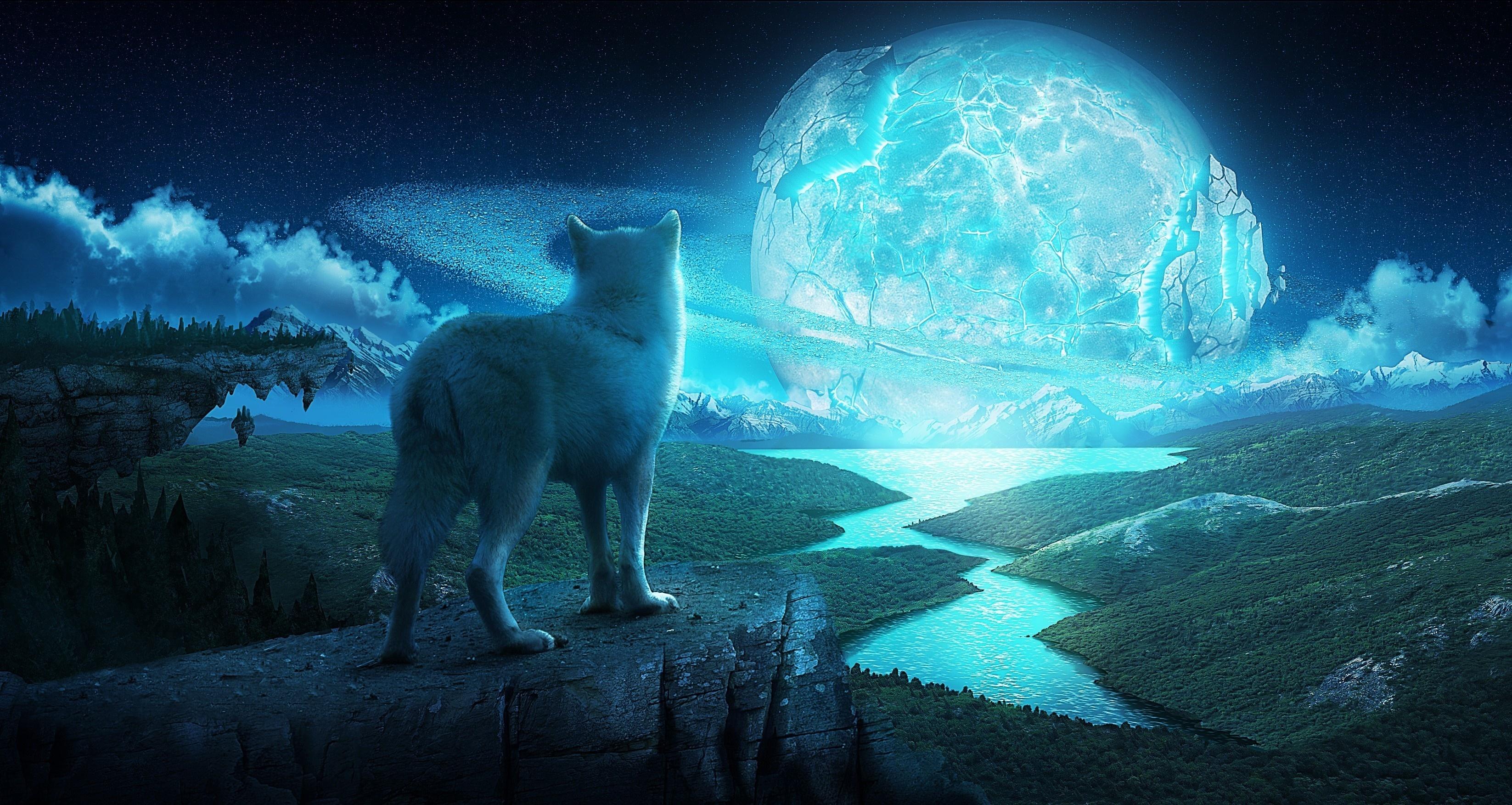 デスクトップ壁紙 3293x1752 Px アート ファンタジー 風景 夜 惑星 狼 オオカミ 3293x1752 Goodfon デスクトップ壁紙 Wallhere