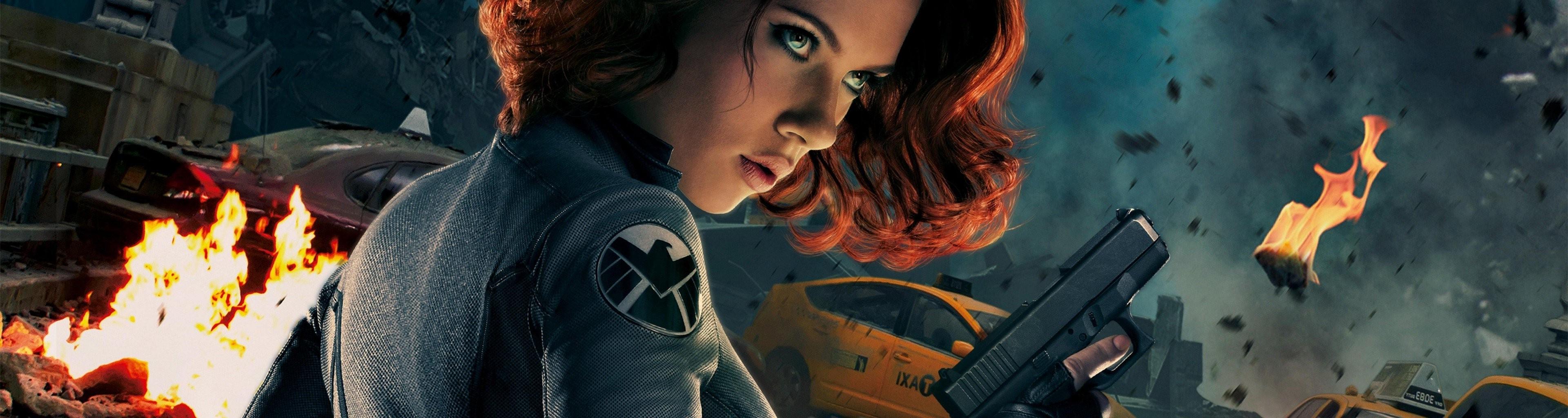 Wallpaper : 3840x1024 px, Black Widow, Scarlett Johansson