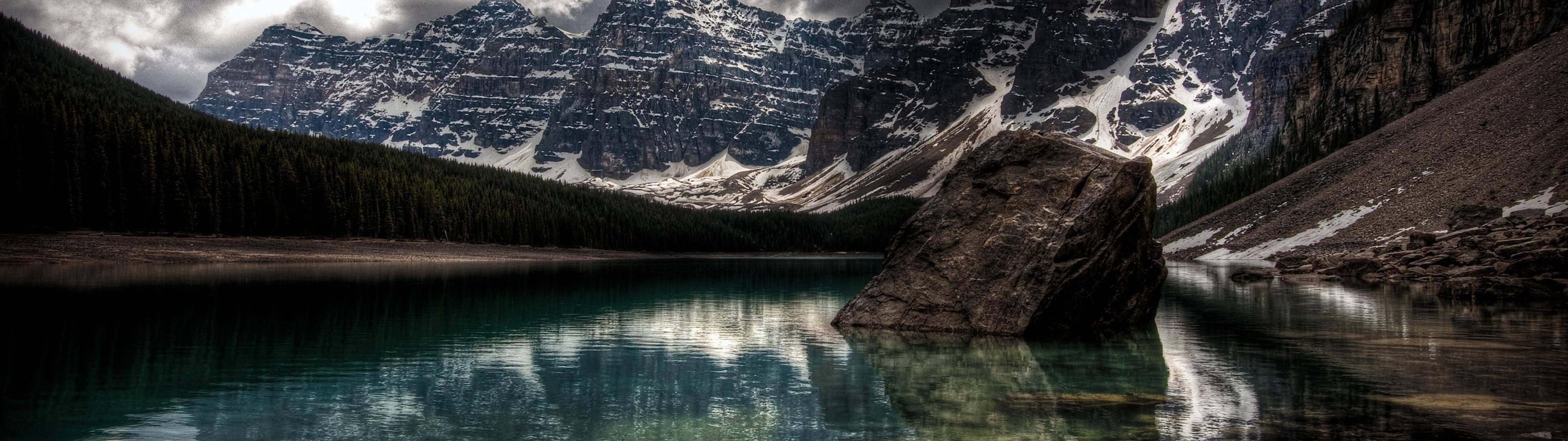 Wallpaper 3840x1080 Px Canada Lake Moraine Lake Mountain Nature 3840x1080 Wallhaven 1092536 Hd Wallpapers Wallhere