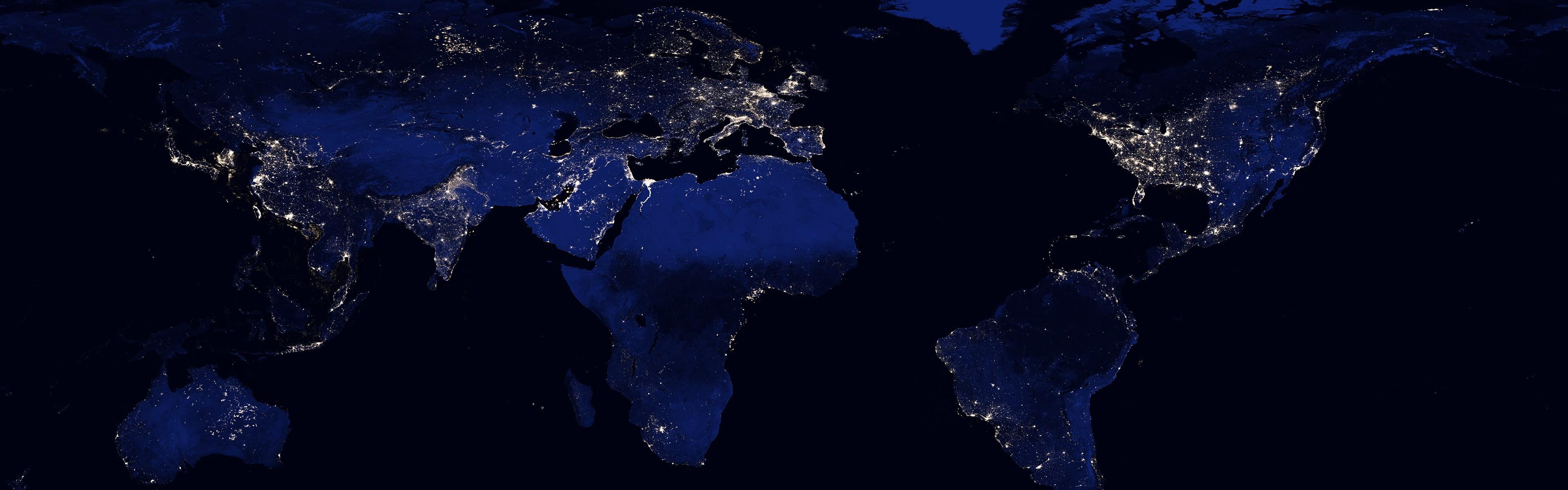 Hintergrundbilder : 3840x1200 px, Kontinente, Erde, Beleuchtung ...