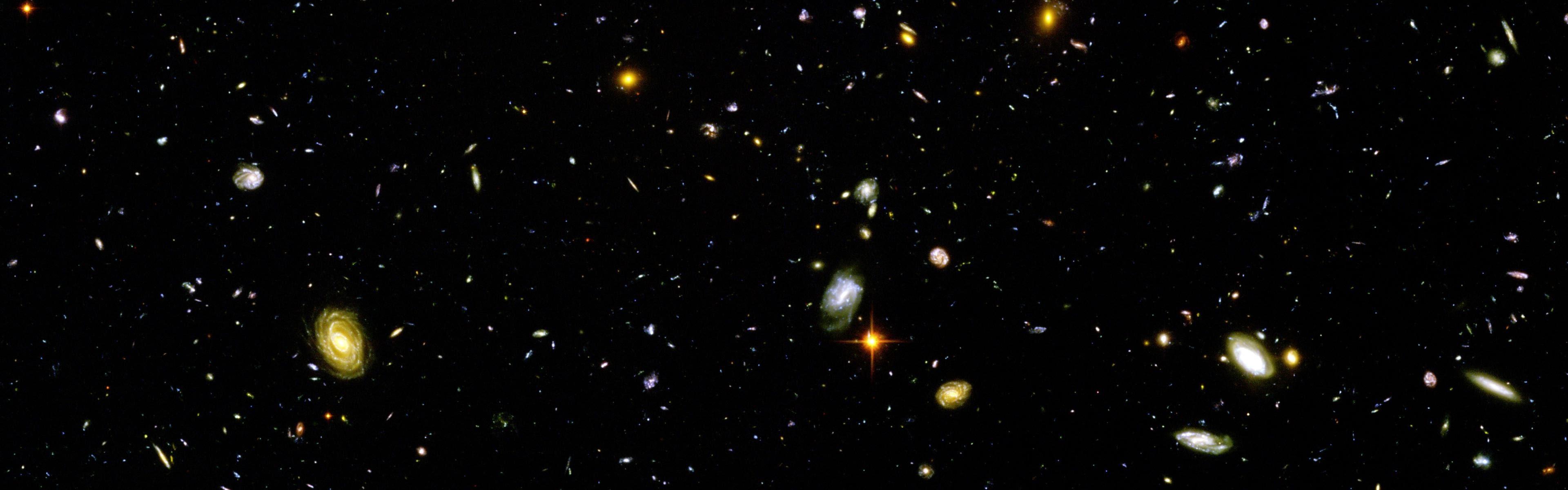wallpaper : 3840x1200 px, galaxy, hubble deep field, multiple
