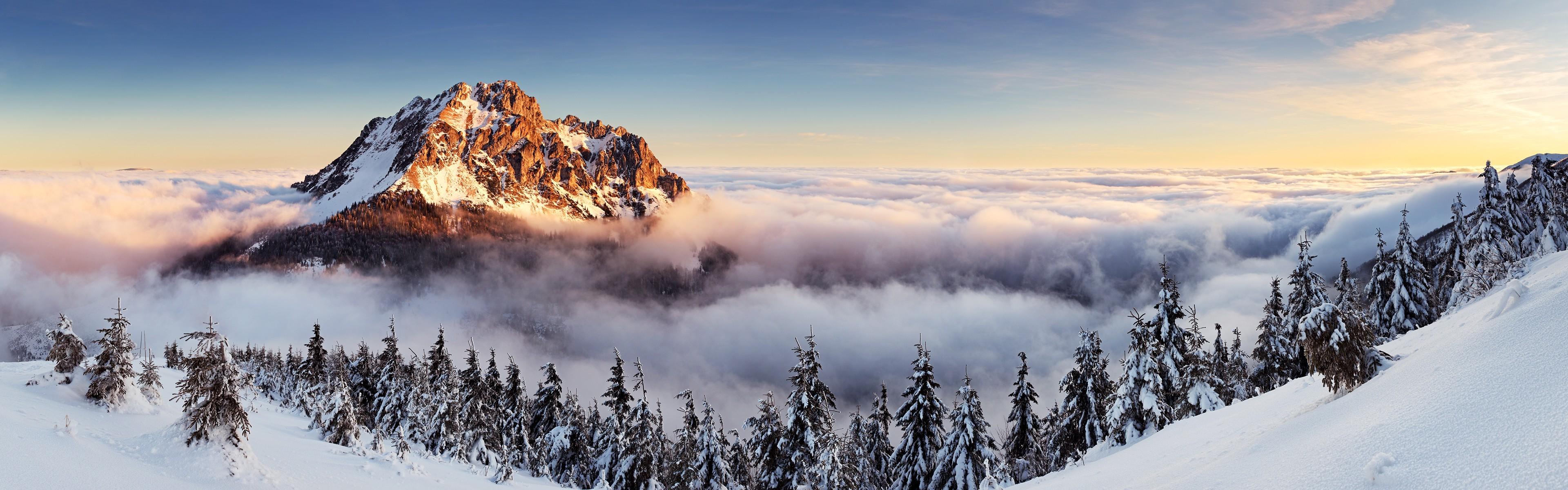 3840x1200 Px Landscape Mist Mountain Multiple Display Pine Trees Slovakia Winter