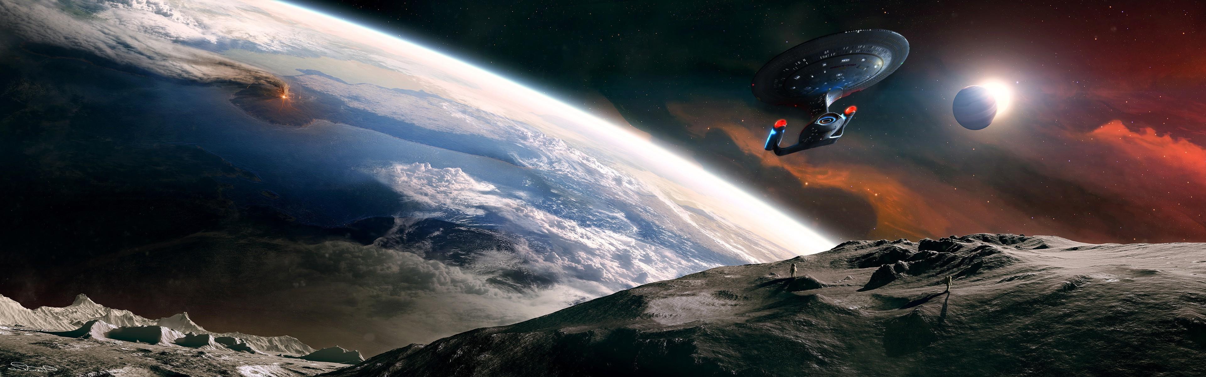 Wallpaper 3840x1200 Px Planet Space Spaceship Star Trek