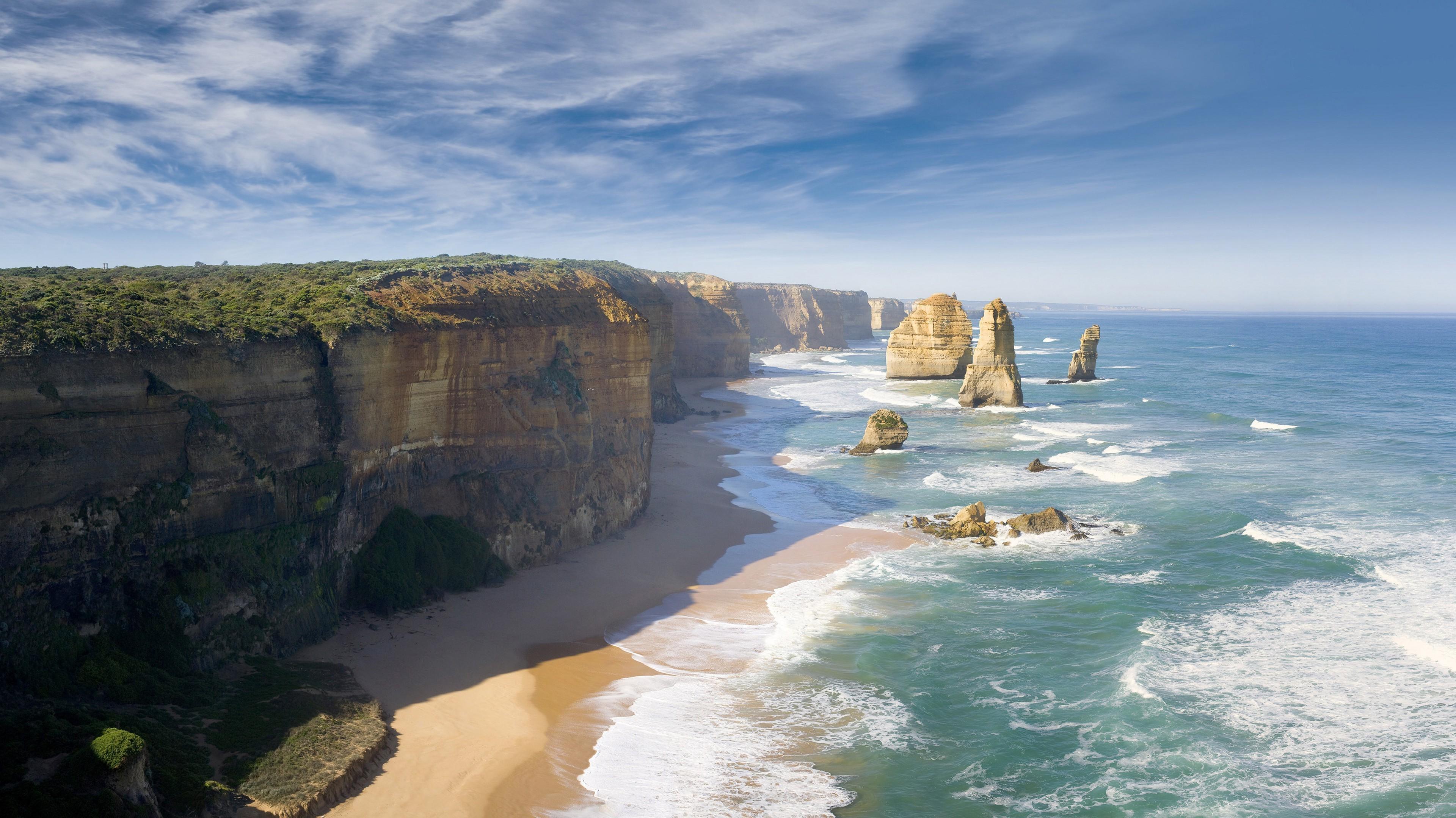 wallpaper : 3840x2160 px, australia, beach, cliff, coast, great