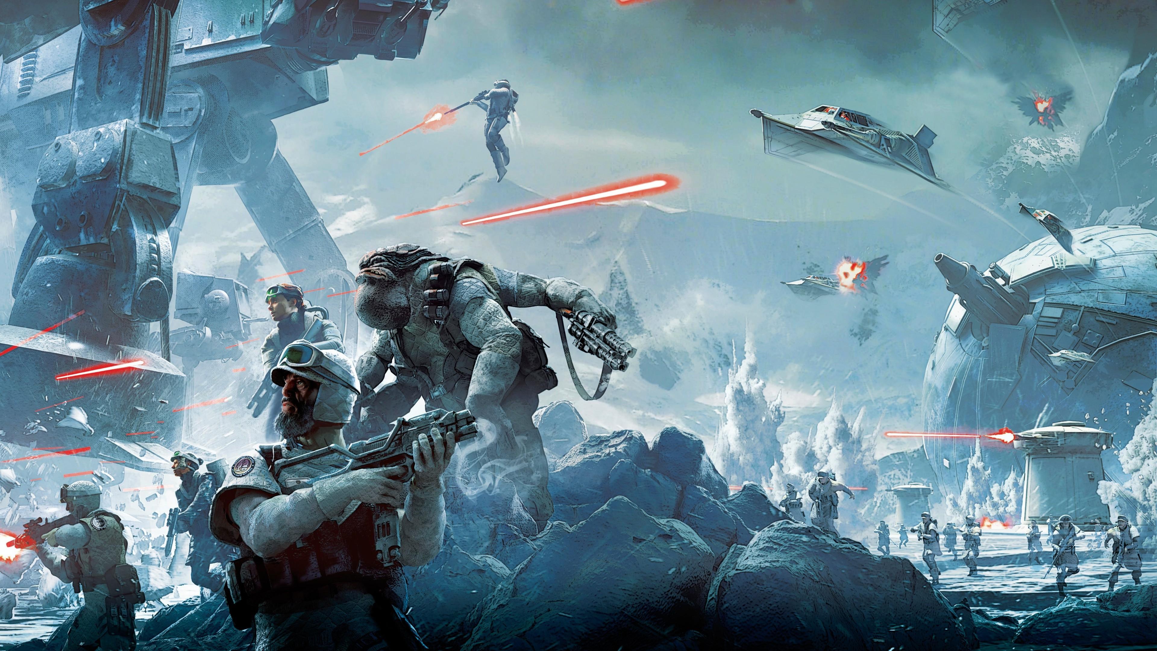 Wallpaper 3840x2160 Px Battle Hoth Soldier Star Wars