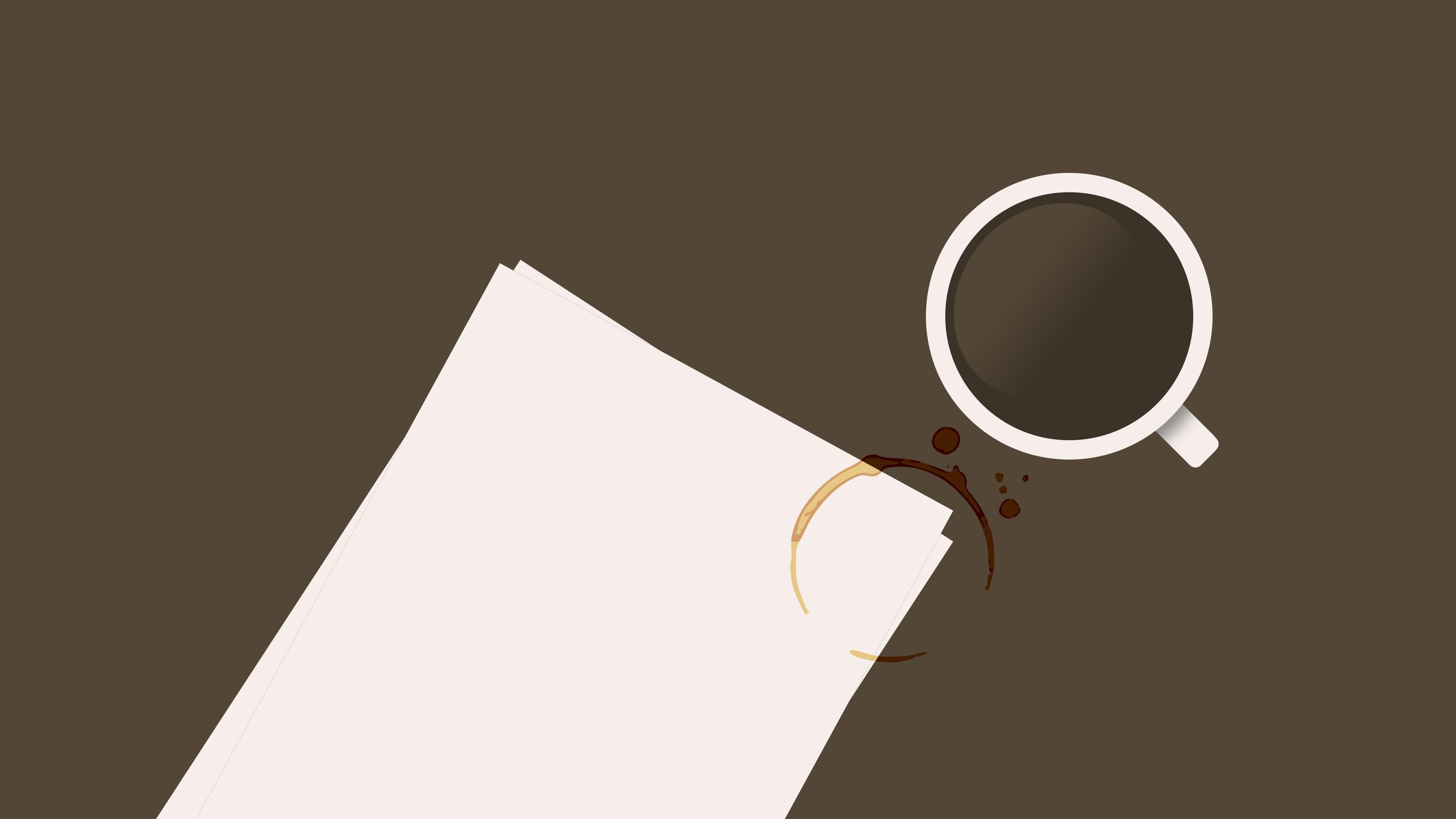 デスクトップ壁紙 3840x2160 Px コーヒー 机 紙 汚れ 3840x2160