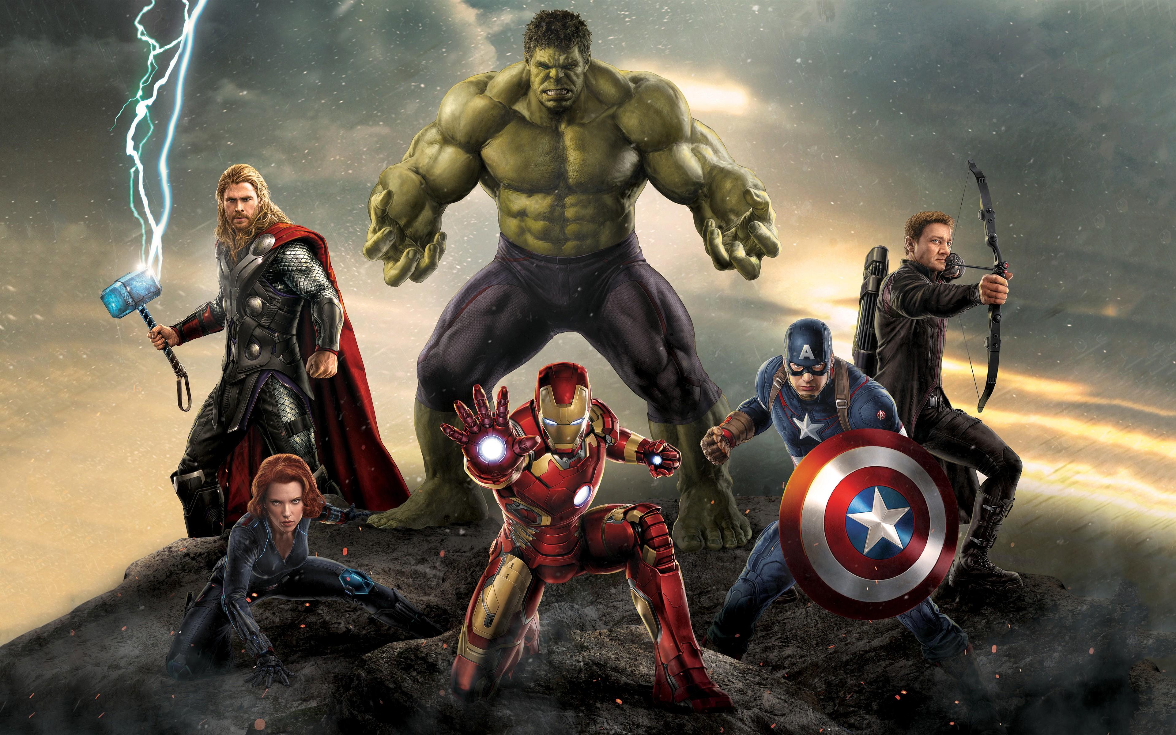 Wallpaper 3840x2400 Px Avengers Age Of Ultron Black Widow Captain America Hawkeye Hulk Iron Man The Avengers Thor 3840x2400 Wallbase 1428767 Hd Wallpapers Wallhere