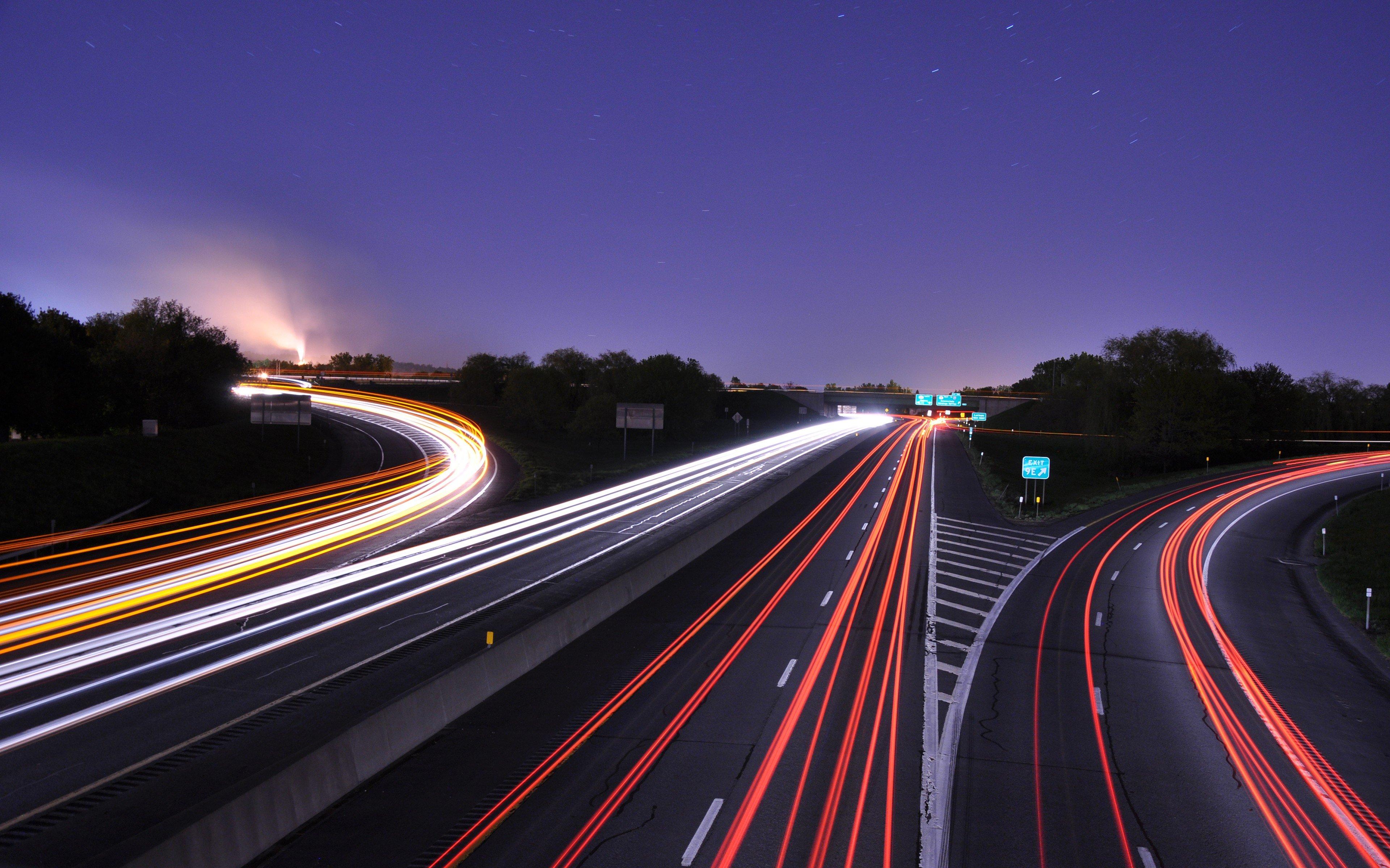 Wallpaper : 3840x2400 Px, Freeway, Lights, Long Exposure