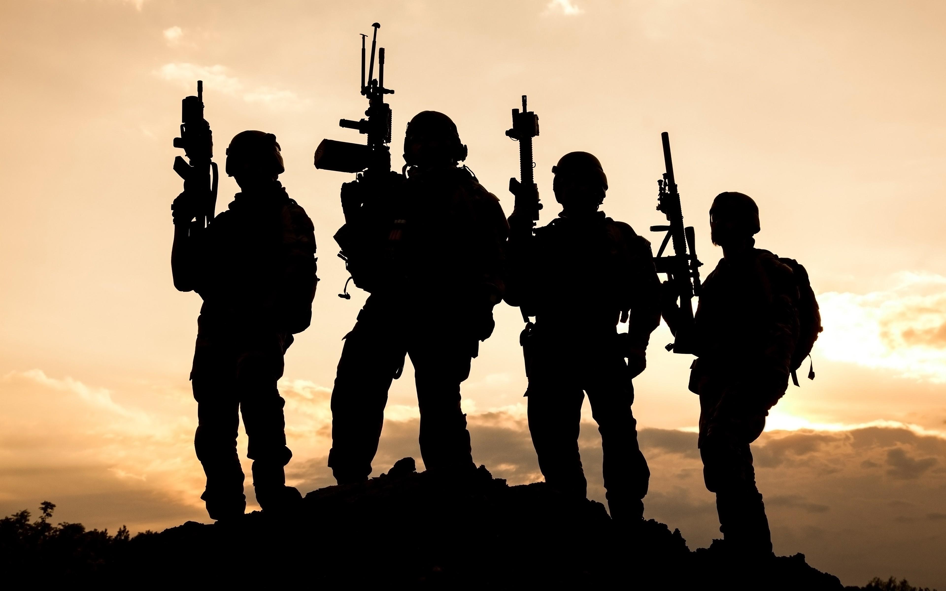 Wallpaper 3840x2400 Px Assault Rifle Military Silhouette