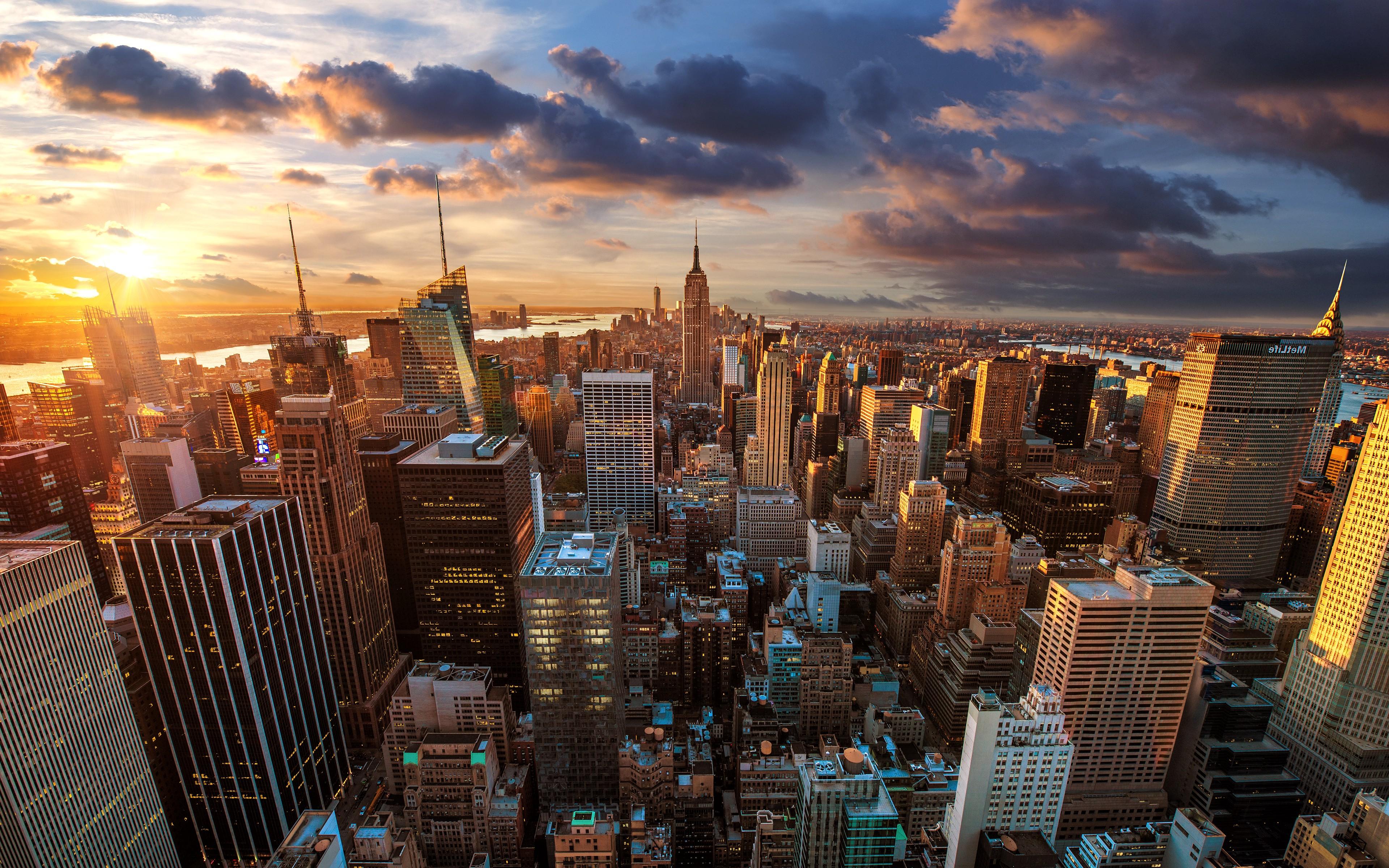 3840x2400 Px Building Cityscape Landscape New York City Sunset USA
