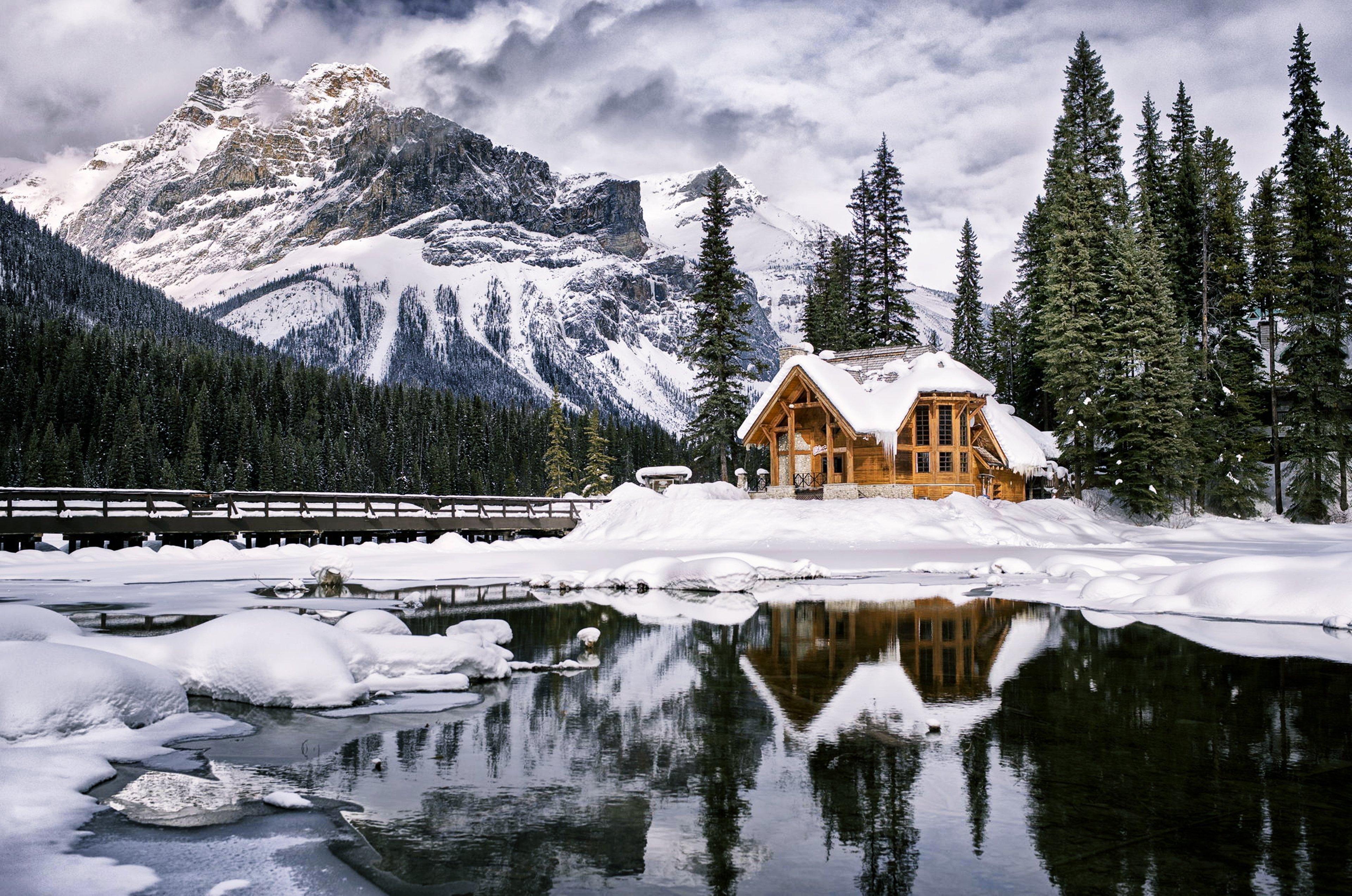 красивые дома зимой фото