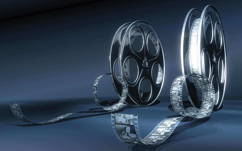 Wallpaper 3D Kaca Teknologi Gulungan Film Cahaya