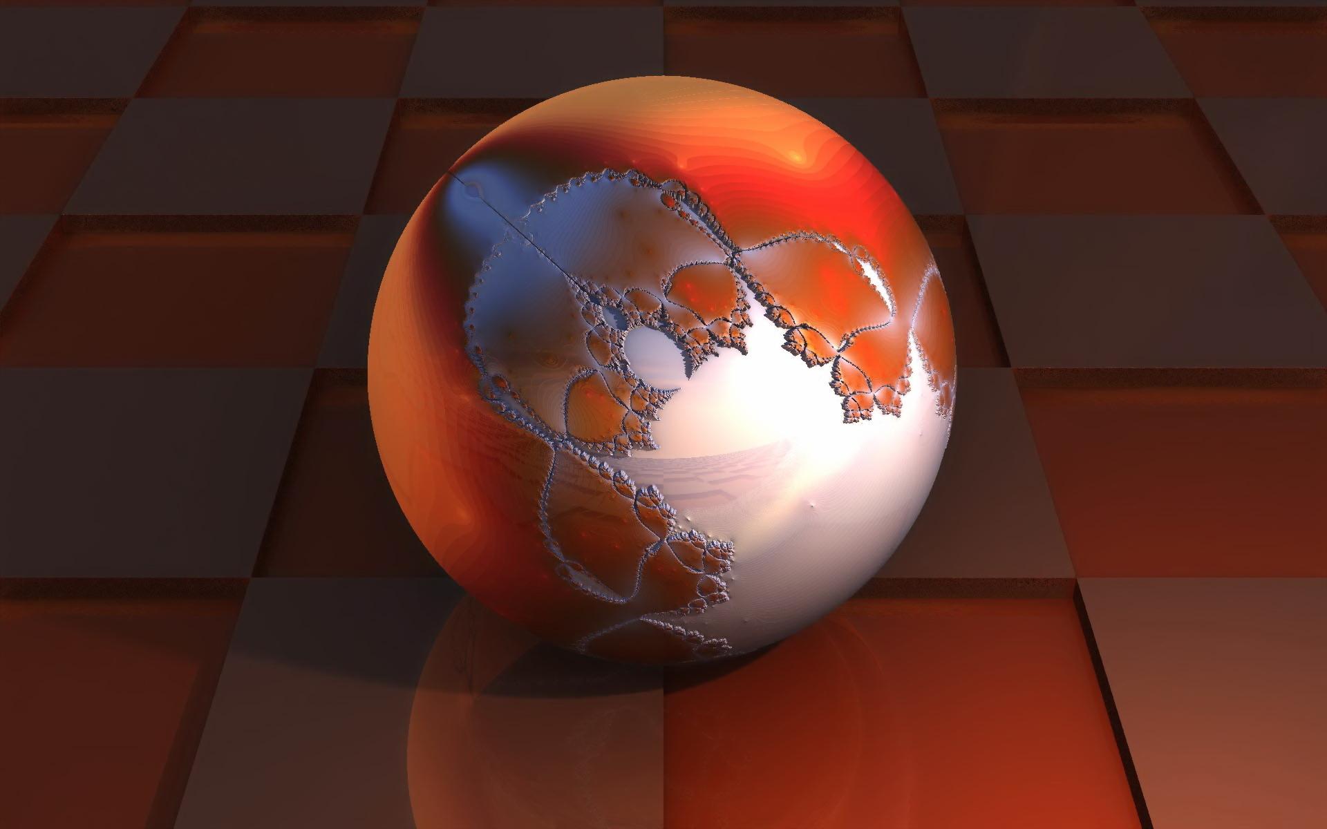 Wallpaper 3D Merah Refleksi Bola Kotak Lingkaran