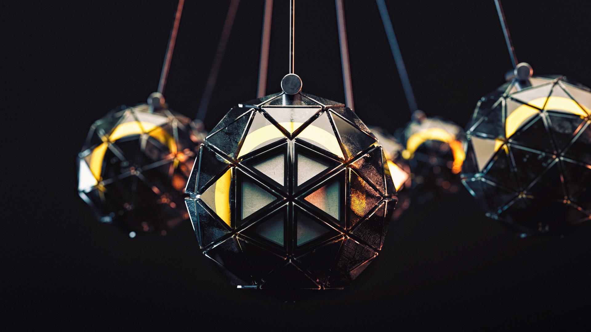 Wallpaper 3d Render Abstract Triangulate Ball Black
