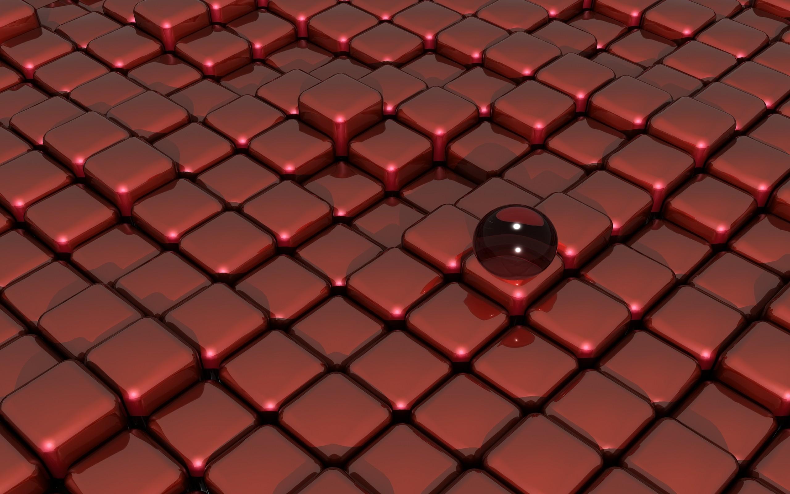 Wallpaper 3D Memberikan Merah Dinding Simetri Pola