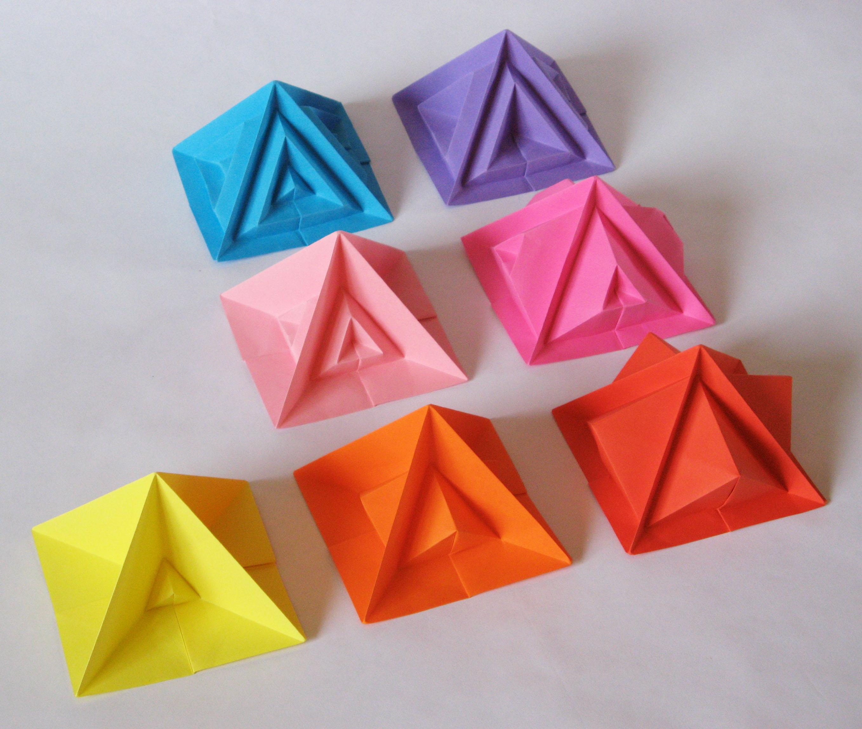 Origami Pyramid Gift Box, Pot or Decoration Tutorial - Paper Kawaii | 2296x2716