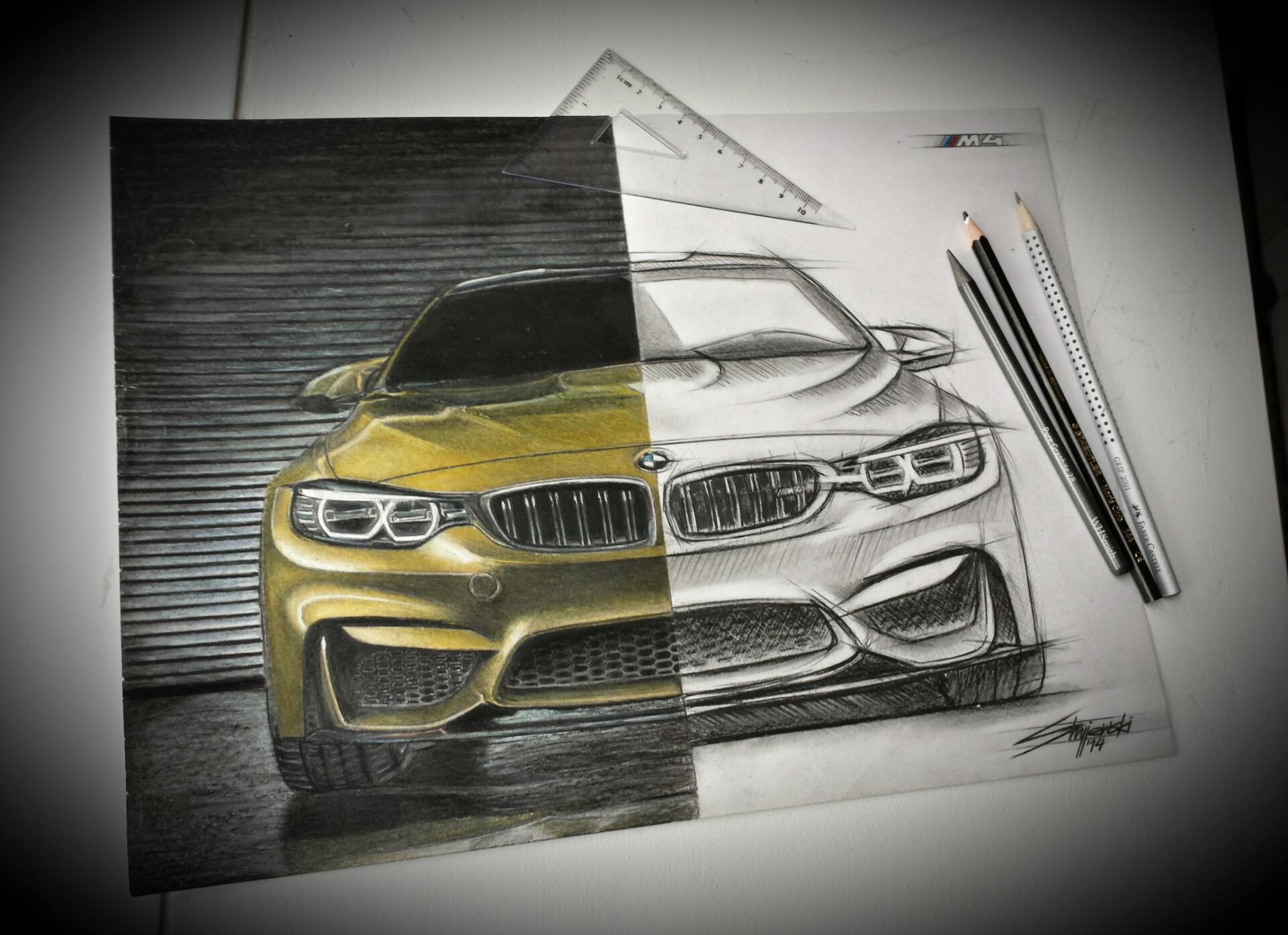 Wallpaper Art Drawing Bmw M4 Bimmer Mpower
