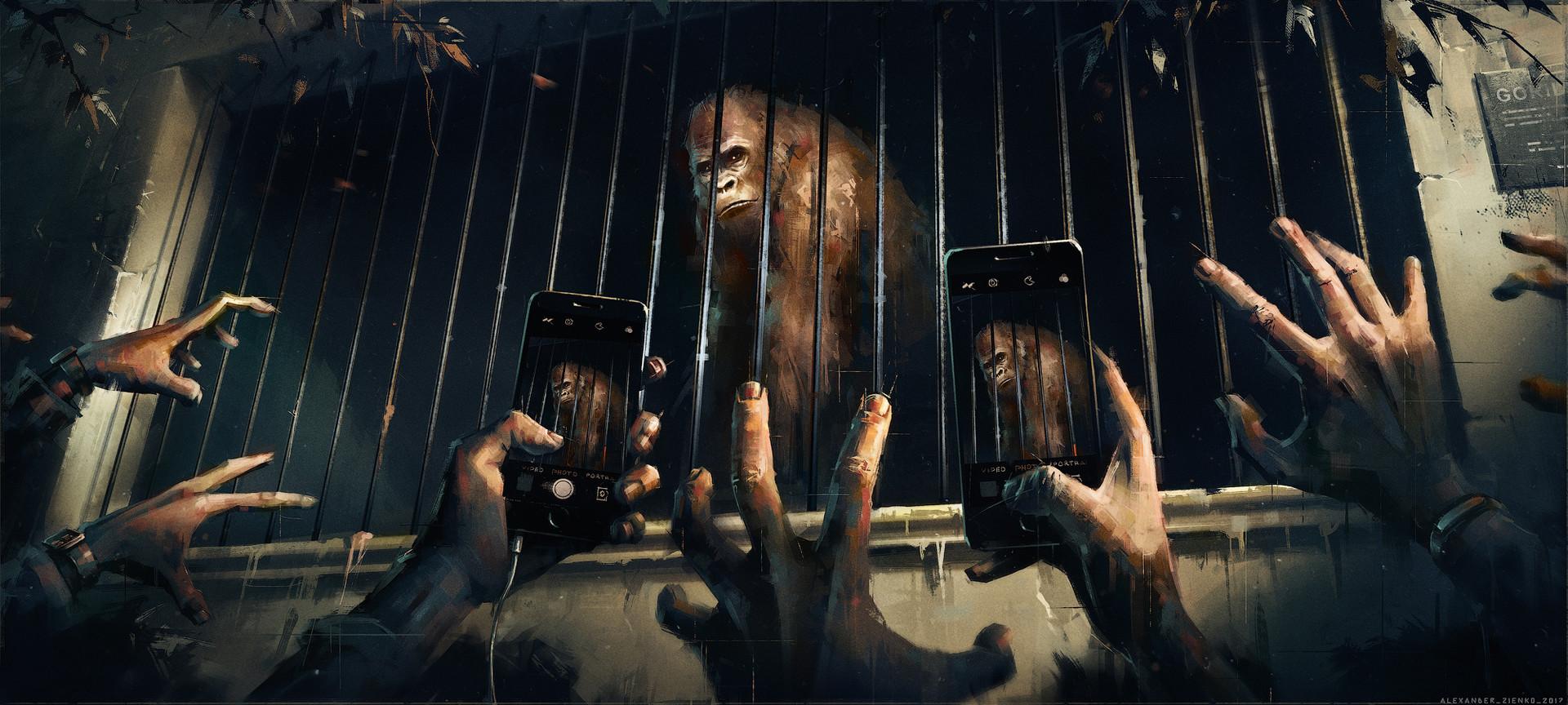 Masaüstü Alexander Zienko Goriller Eller Akıllı Telefon