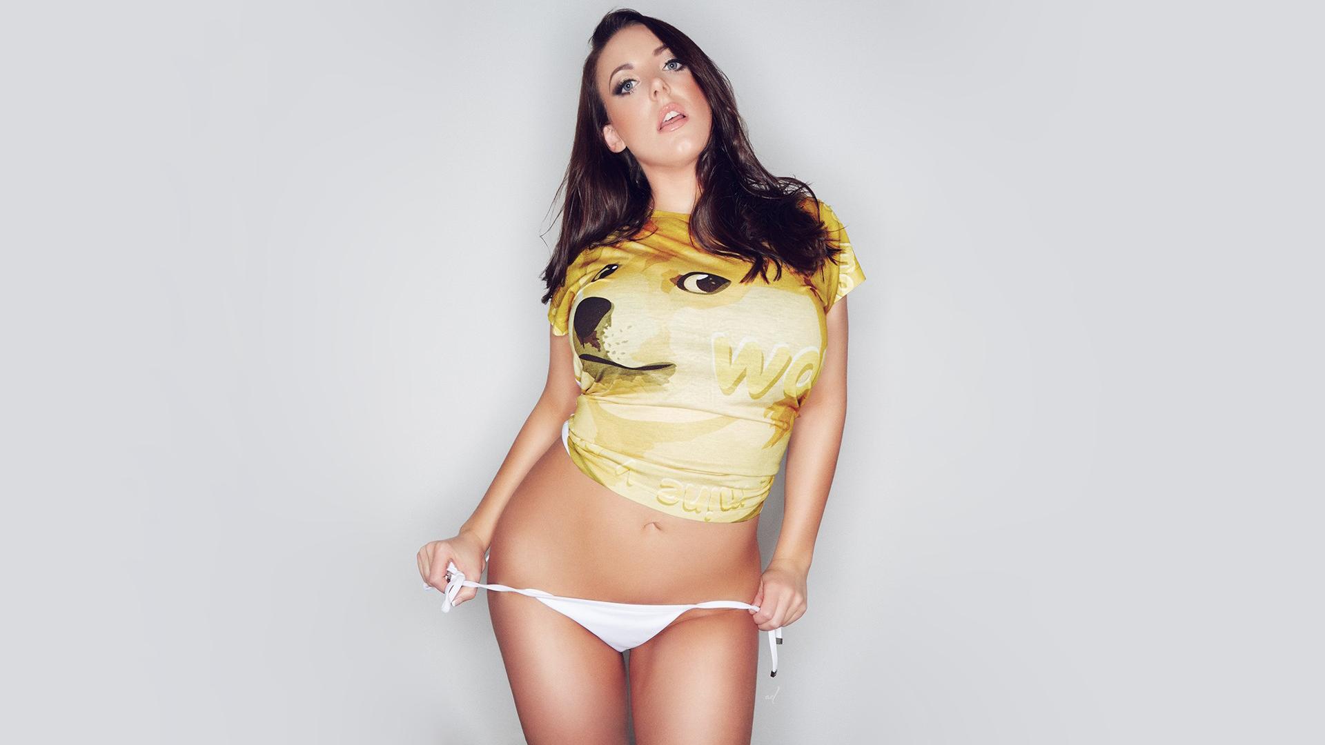 Angela White Pornstar Brunette Simple Background Big Boobs